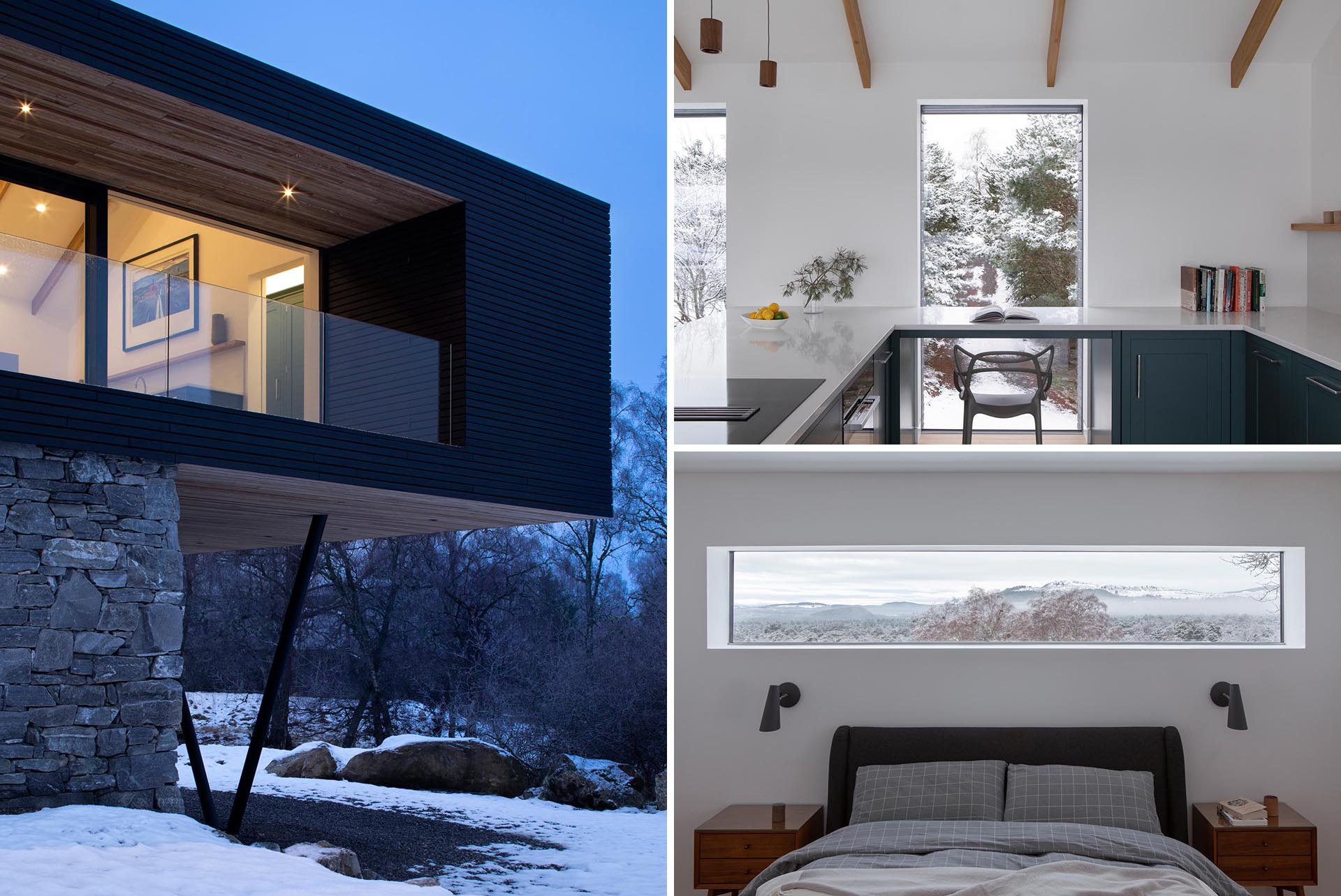 A modern home addition with perfectly positioned windows that frame the views like artwork.