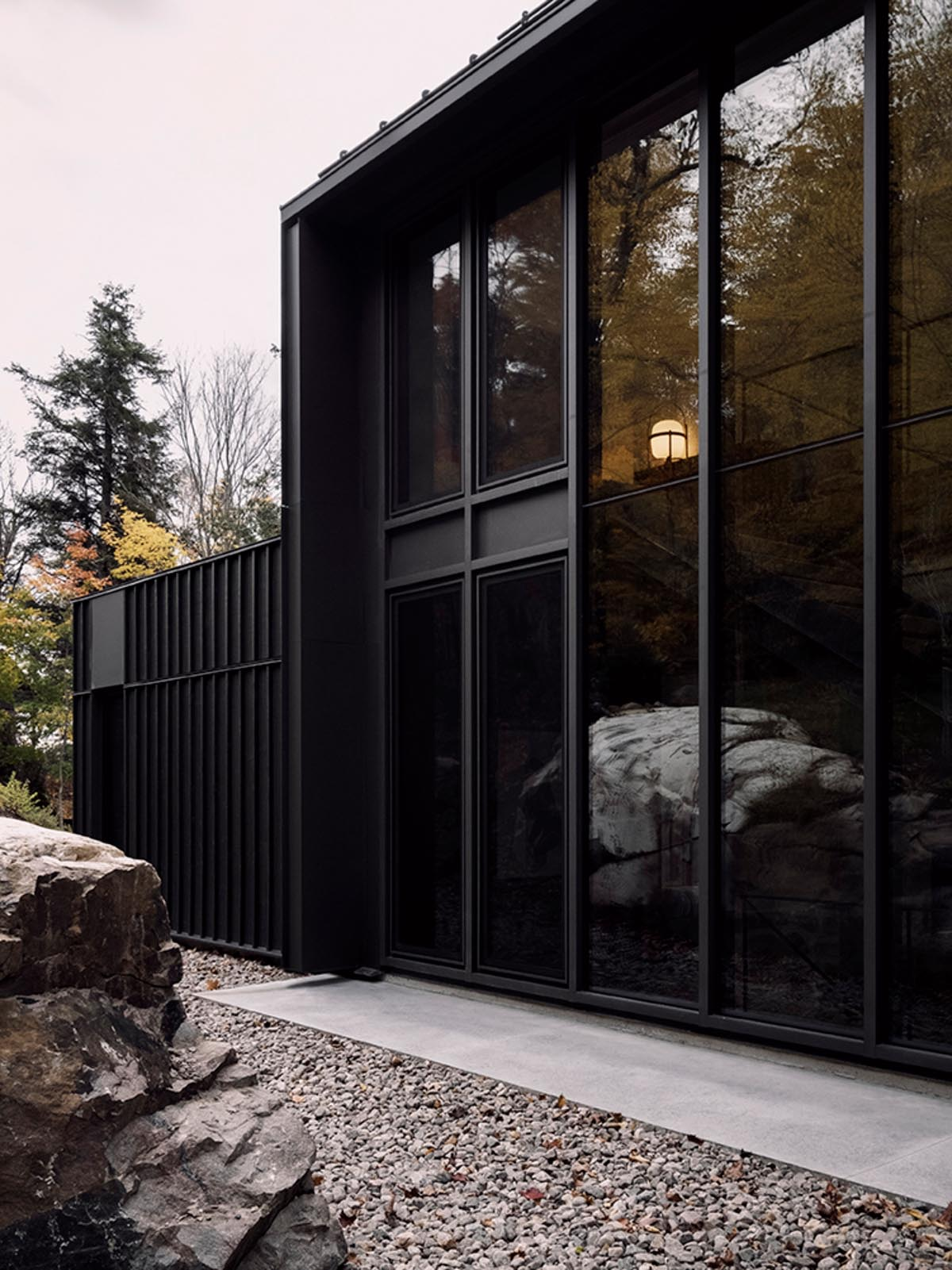 A modern house with black siding and black window frames.