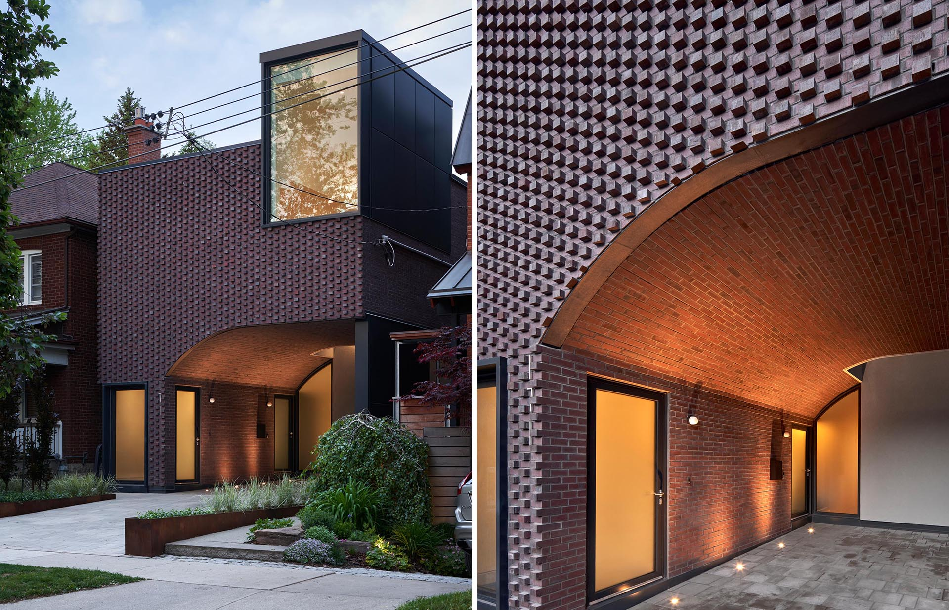 The brickwork that covers the facade and wraps the ceiling and walls of the carport of this modern house plays into Toronto's history of masonry detailing.