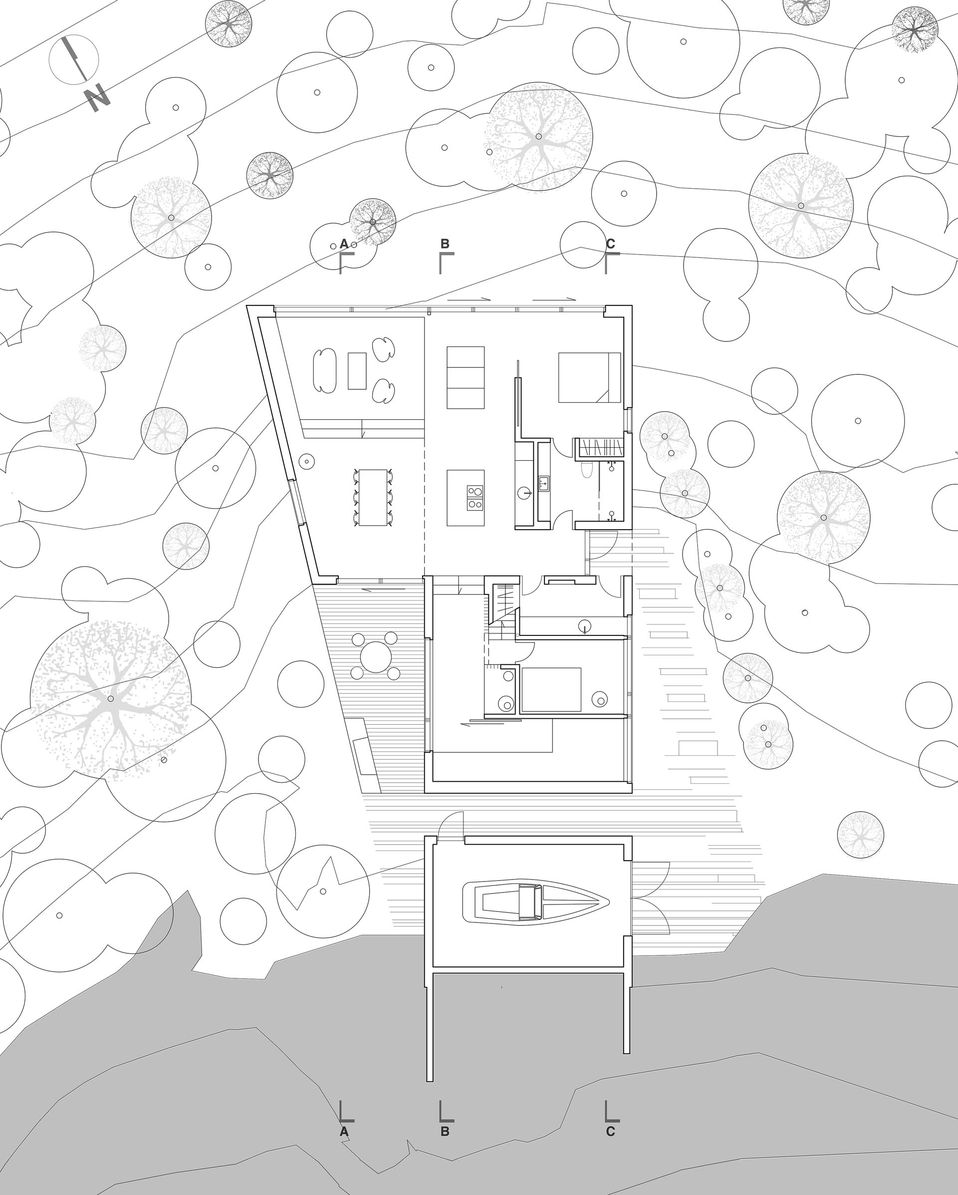 The floor plan of a modern home.
