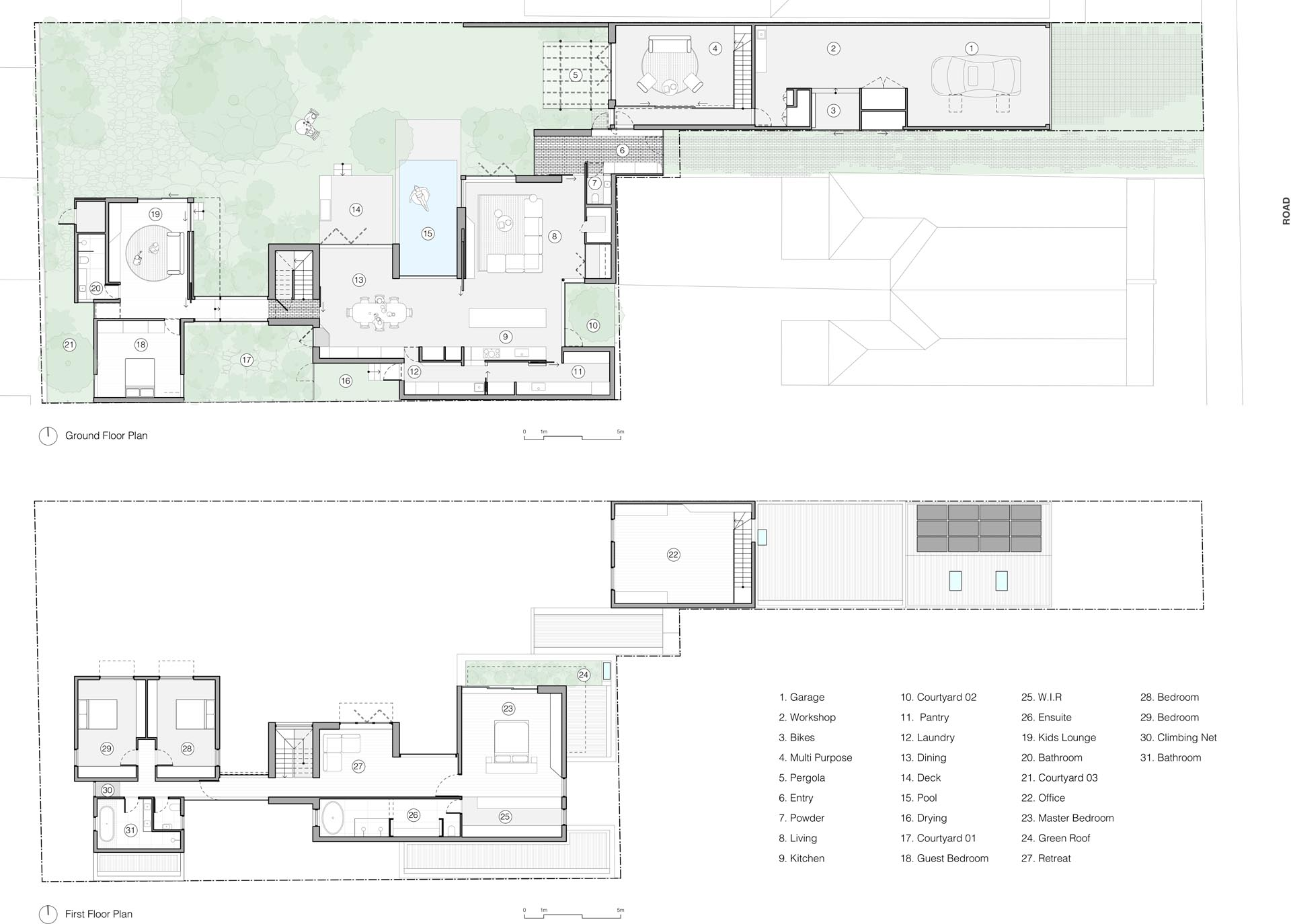 The floor plan of a modern home with plenty of outdoor spaces.