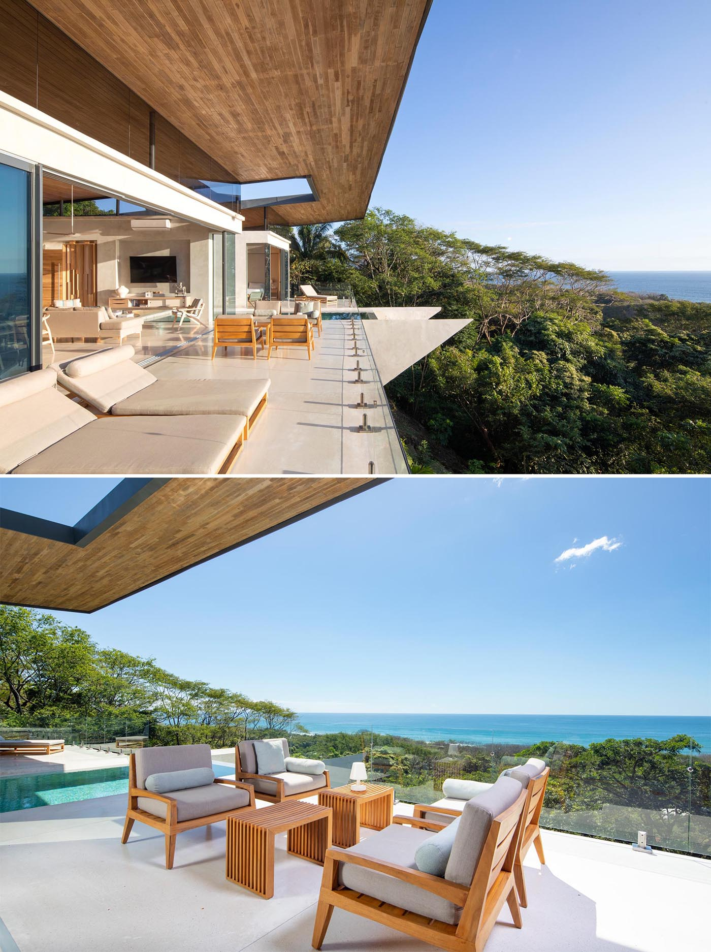 Sliding glass walls connect the interior spaces with the balcony, while the roof overhang shades different areas throughout the day.