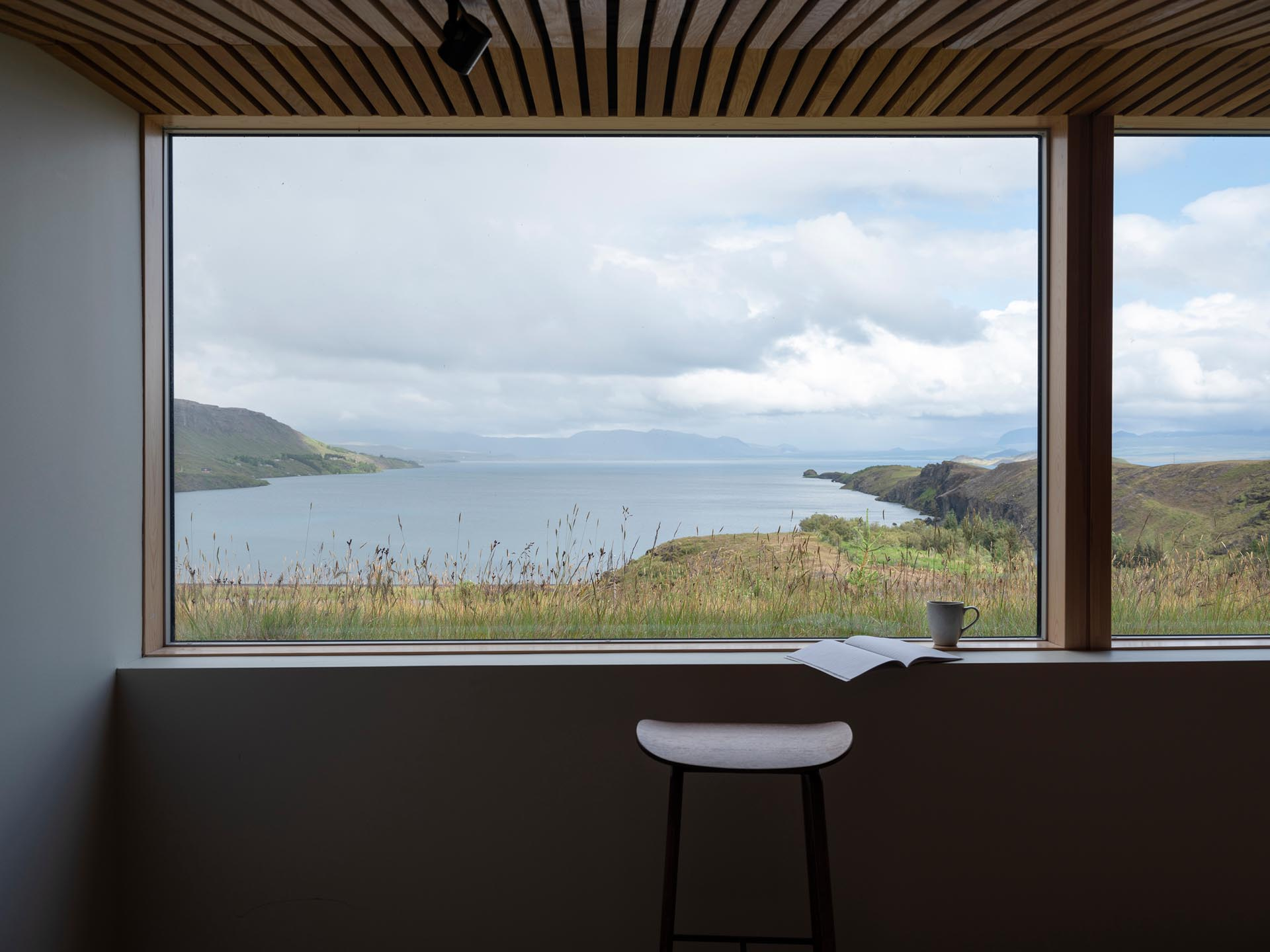 A picture window that frames the lake views like a piece of art.