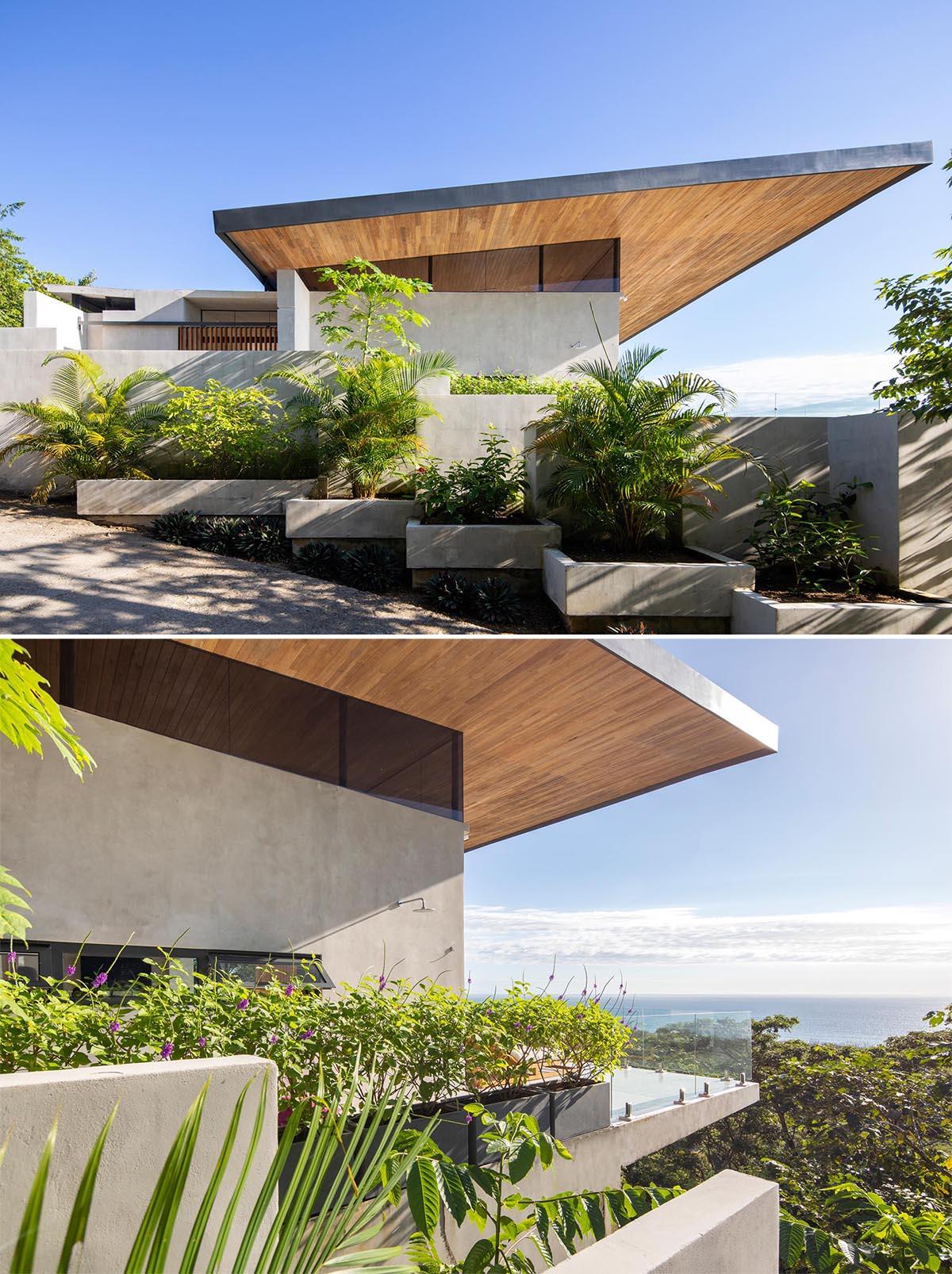 The sweeping and expansive angled roof, which is lined with wood, allows for cross ventilation during the rainy and humid months.