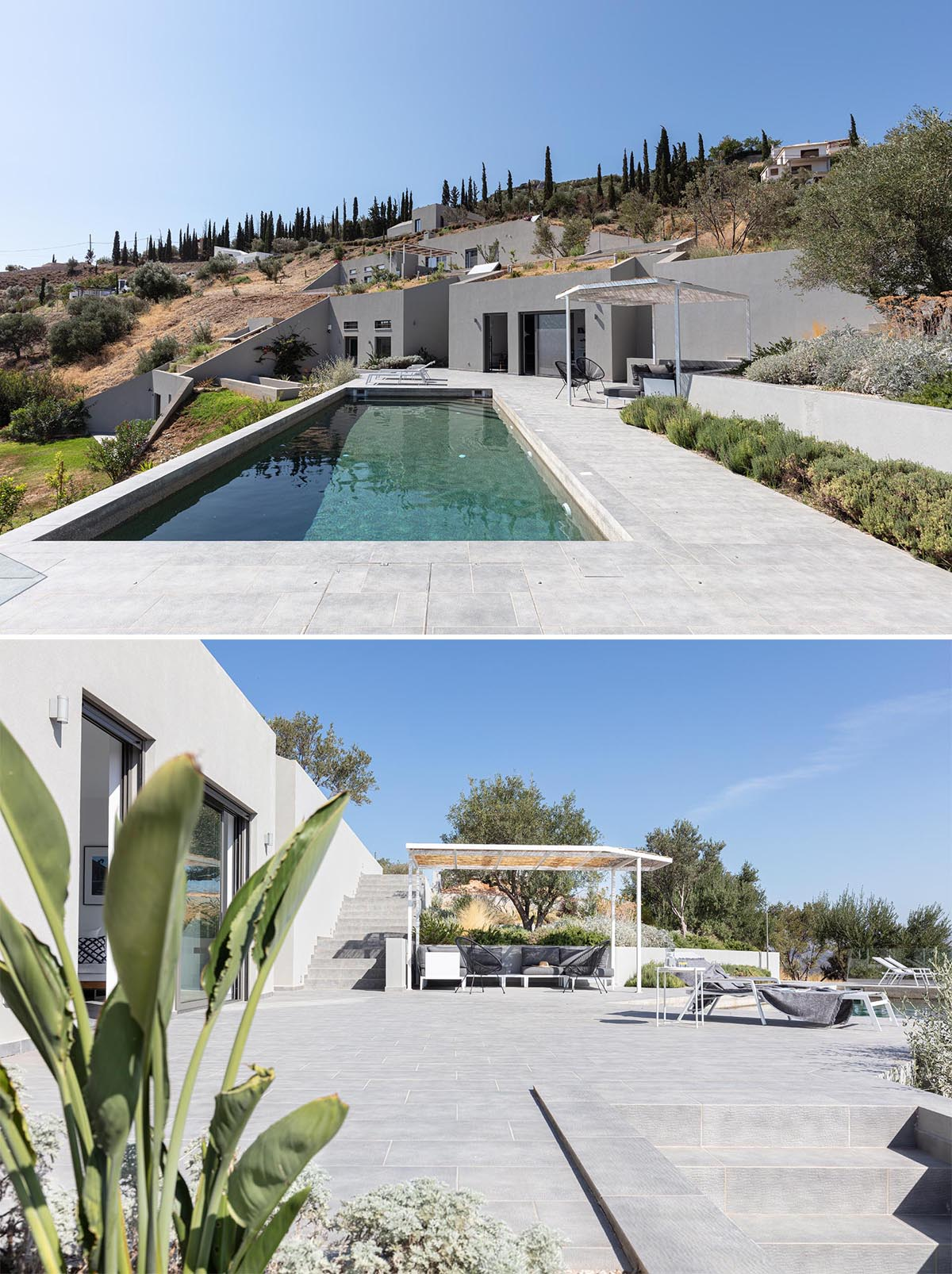 A modern house built into the hillside has a terrace with a pool.