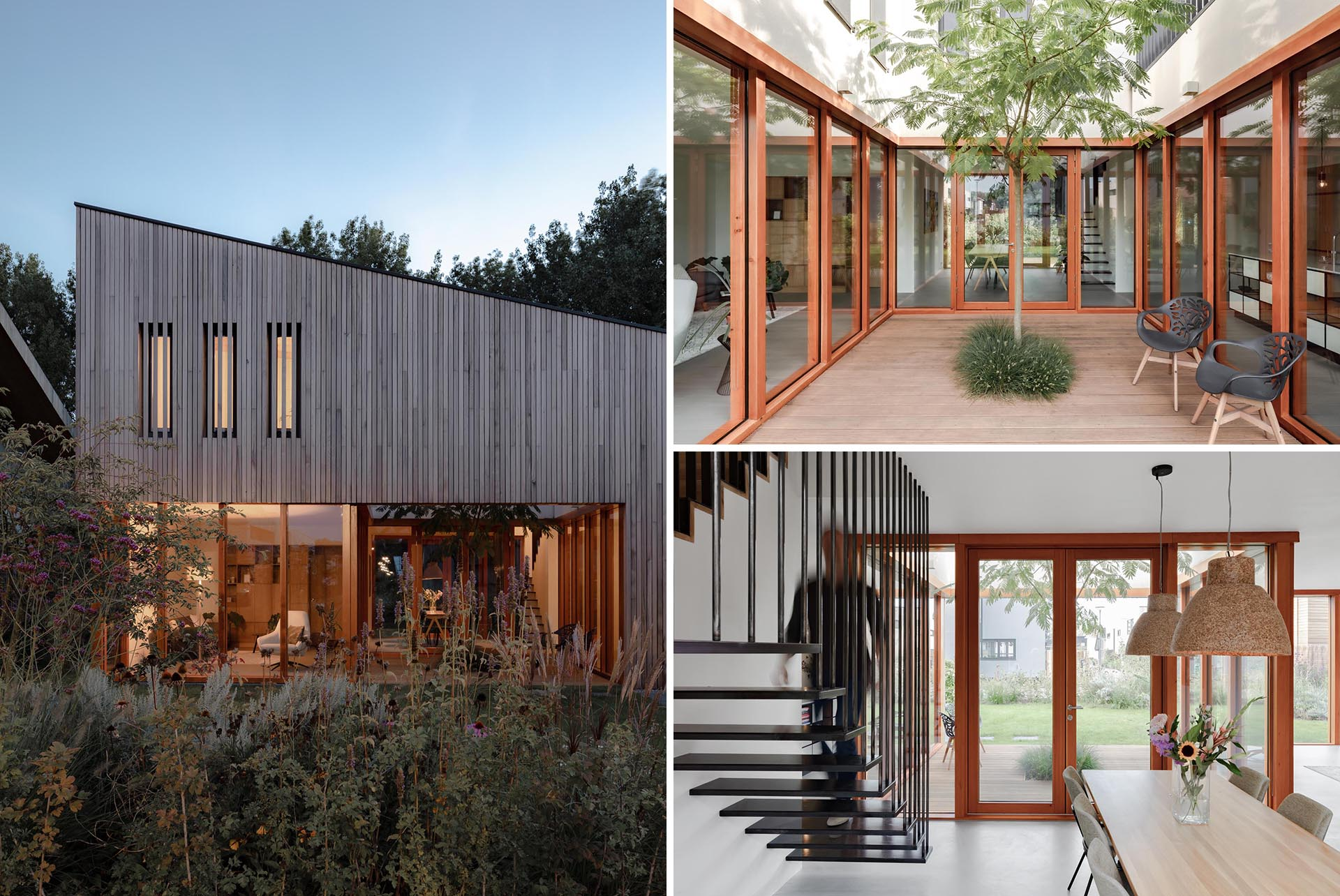 A modern wood clad house with walls of glass.