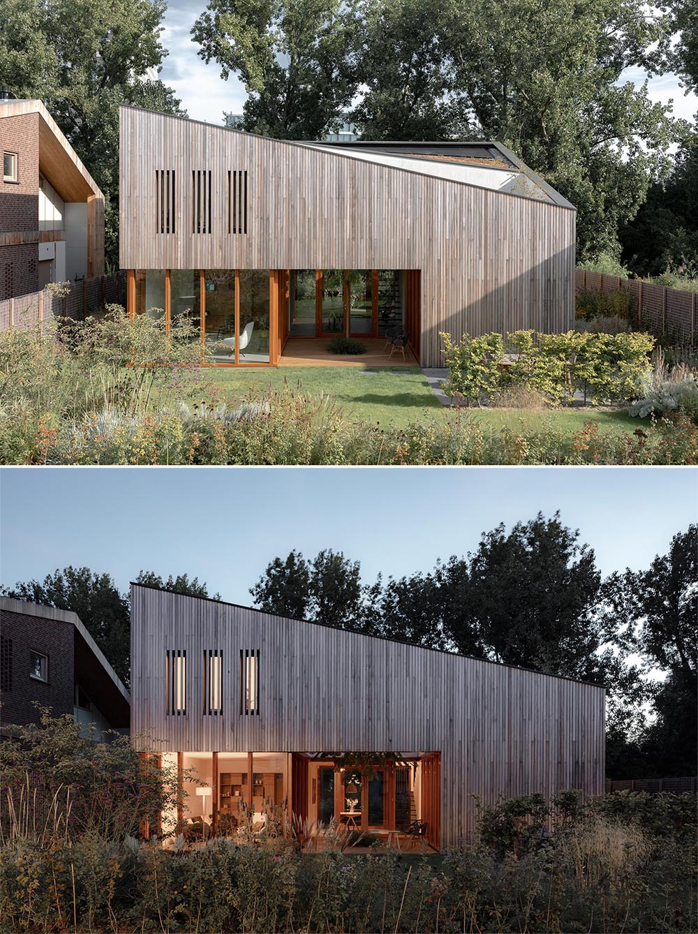 A modern house with wood siding and an angled roof that includes a green roof.