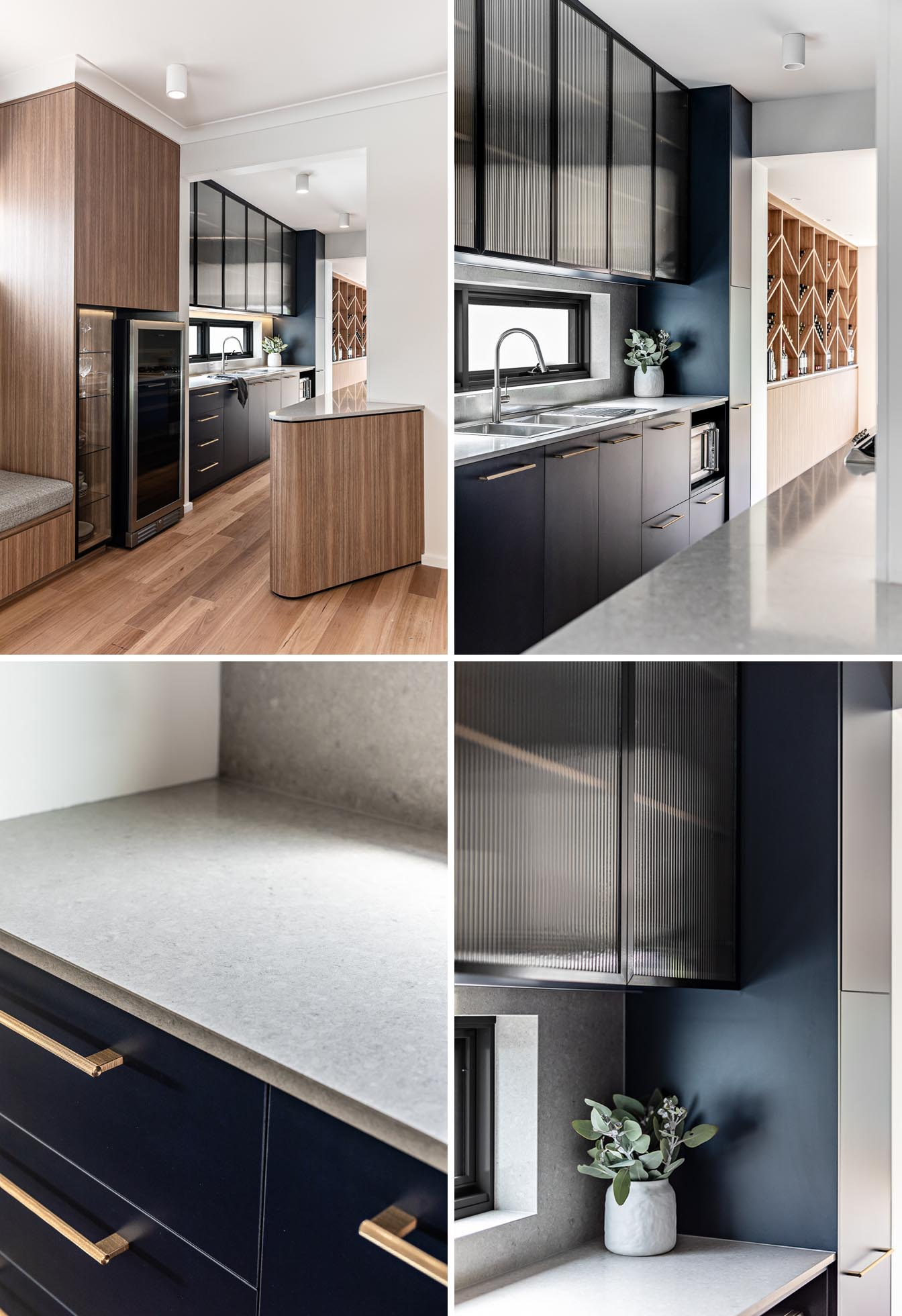 An existing galley kitchen was rebuilt with midnight blue joinery, fluted glass cabinets, soft grey counter tops, long brass handles, and a wine fridge.