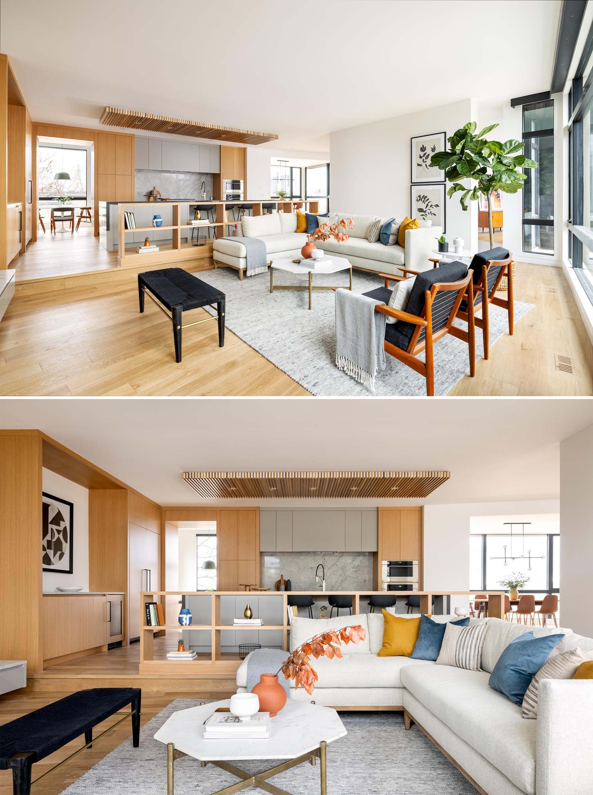 This modern living room is flooded by natural light from the large windows, which were included to frame views to the downtown skyline.
