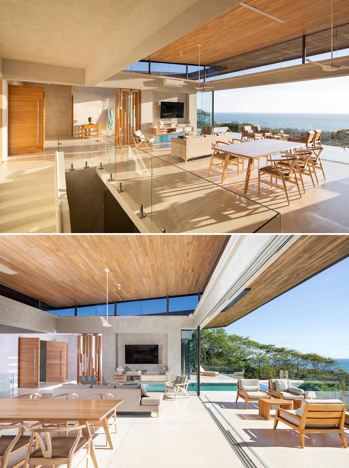Inside this modern home, the main social areas include an open floor plan with the large wood ceiling floating over the space.