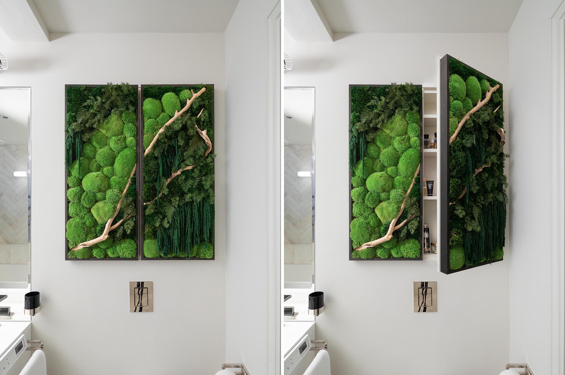 A modern bathroom cabinet with greenery.