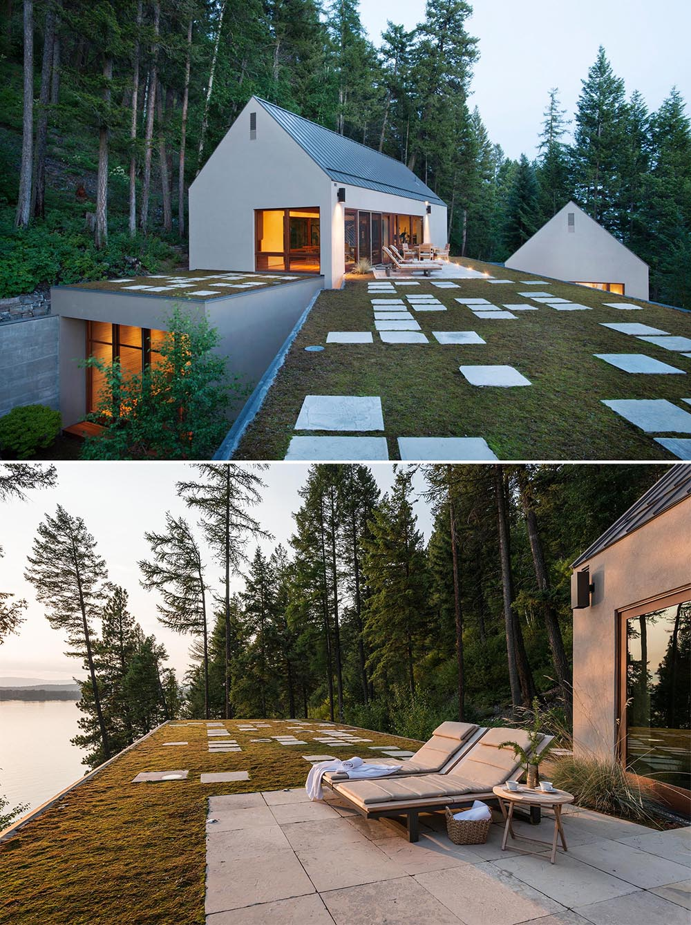 Helping blend these small buildings into their surroundings are green roof elements that host a moss garden punctuated by limestone pavers.