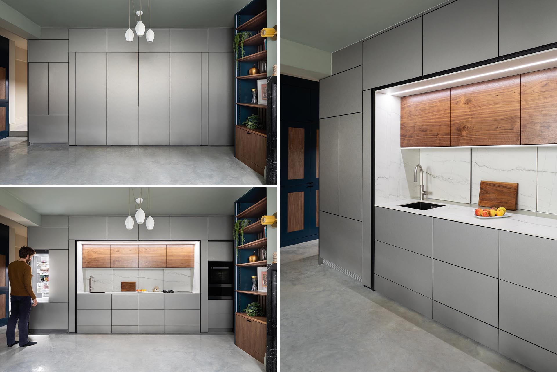 A modern kitchen hidden within cabinetry, also includes integrated appliances.