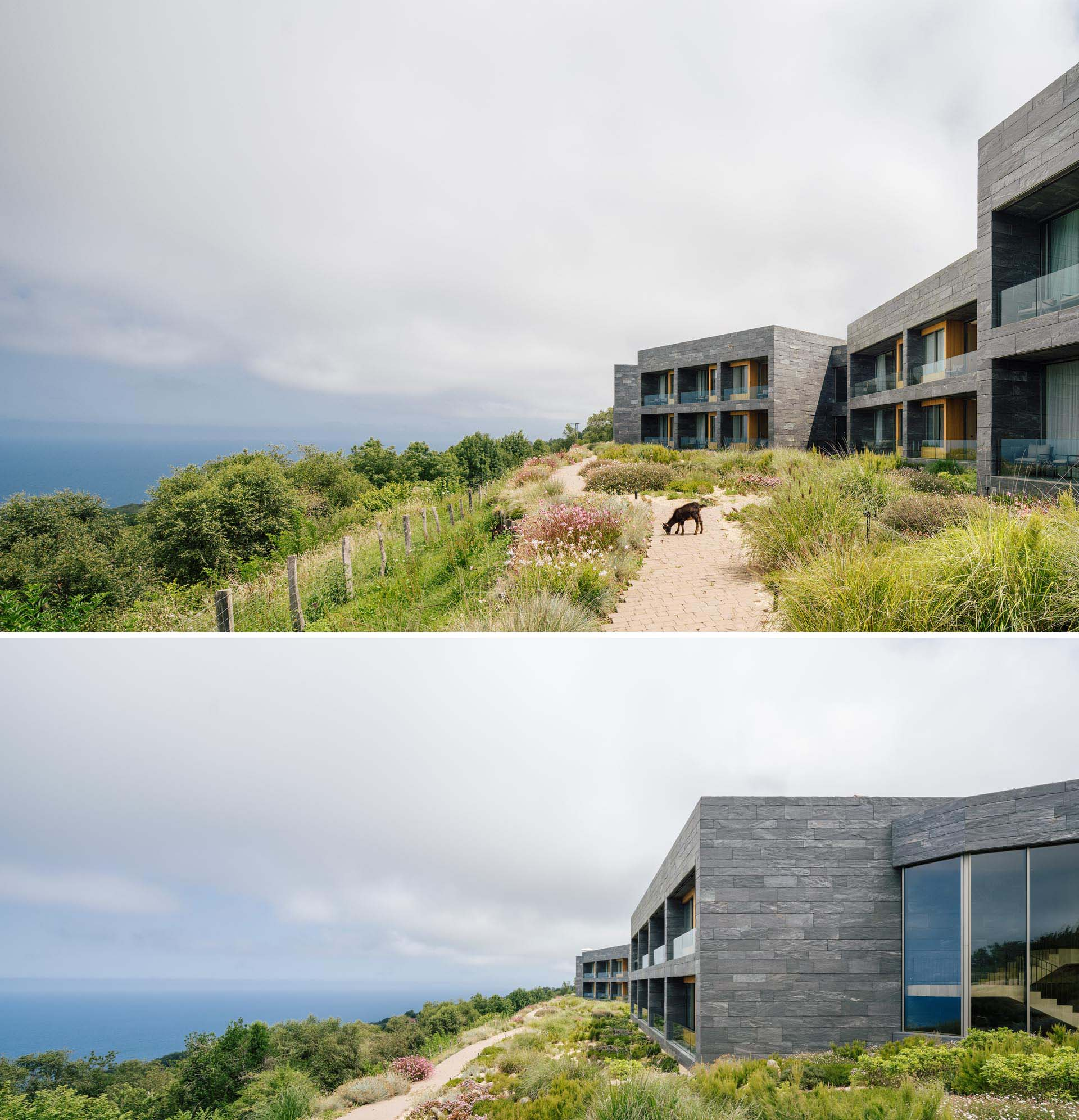 Located on the coast of Spain, this modern hotel and spa includes materials like stone, wood, and glass, with the rooms focused on the view.