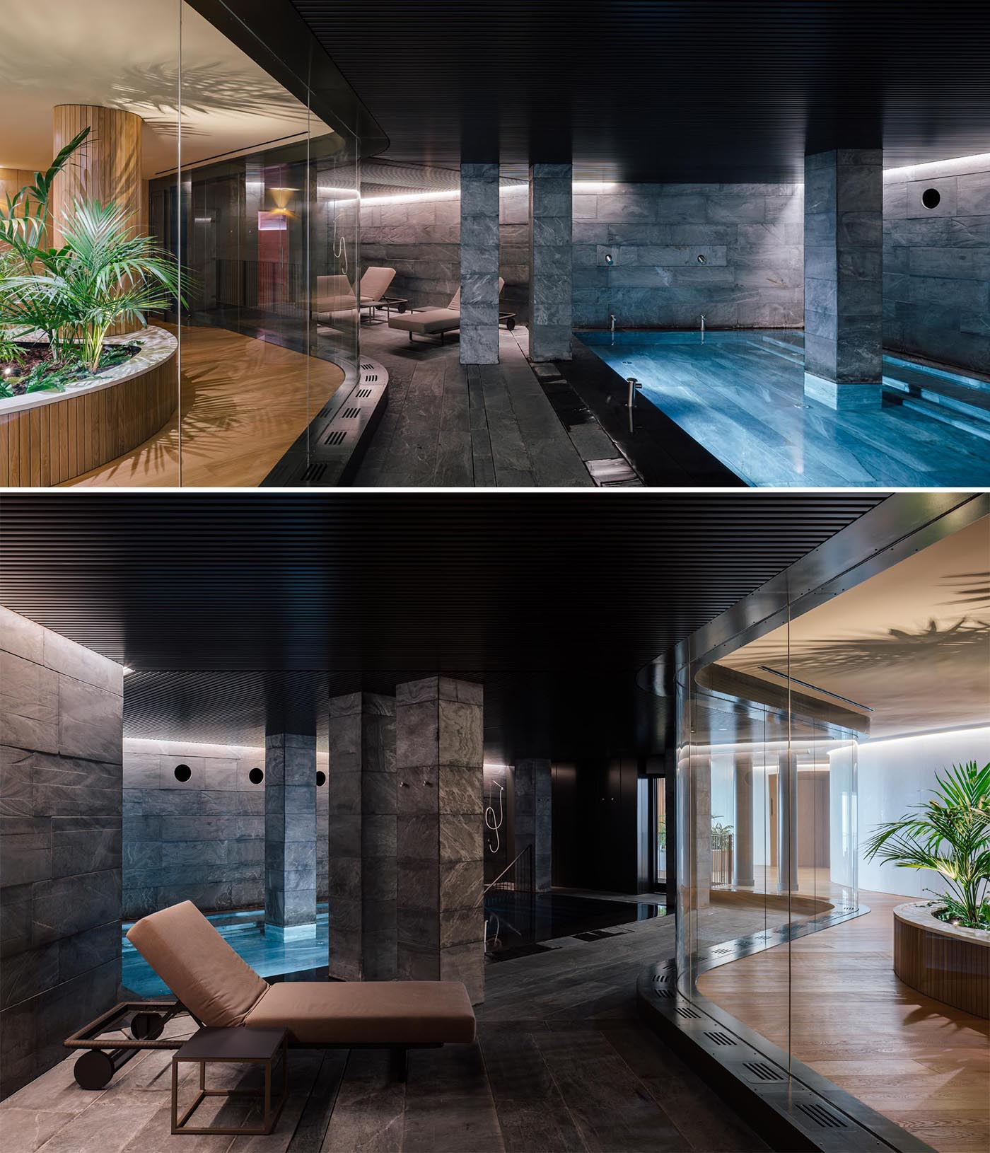 A hotel spa with a curved glass wall that provides views of the swimming pool.
