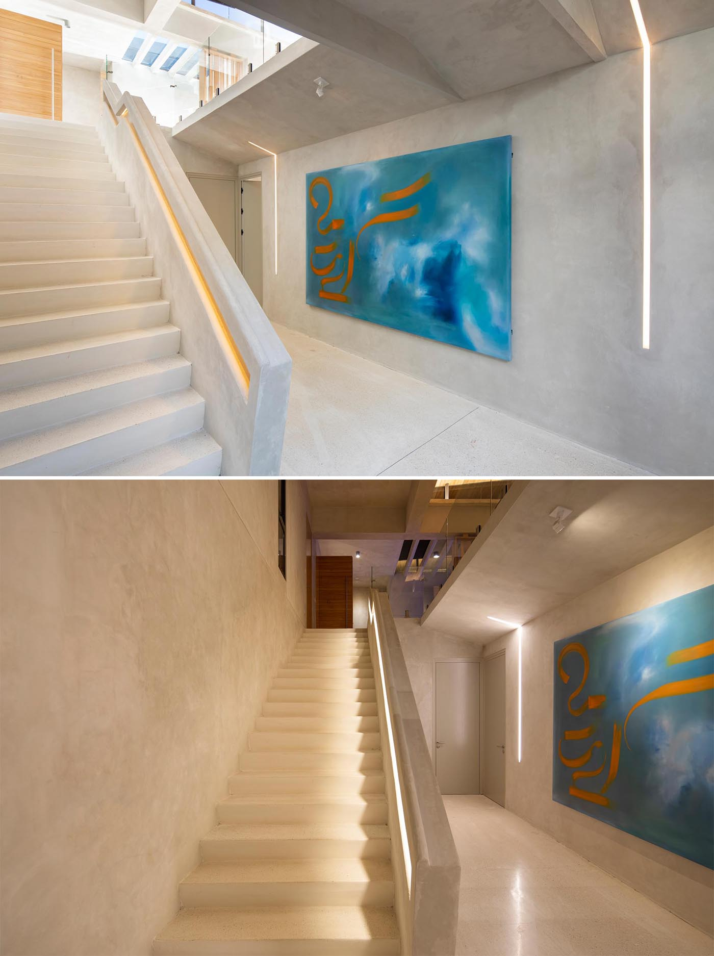 A custom concrete staircase with integrated lighting and handrails.