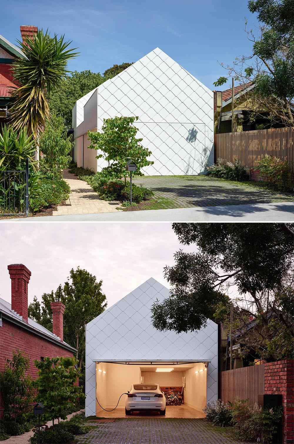 The home is hidden from the street and accessed via a pedestrian laneway that travels from the garage to the main living spaces.