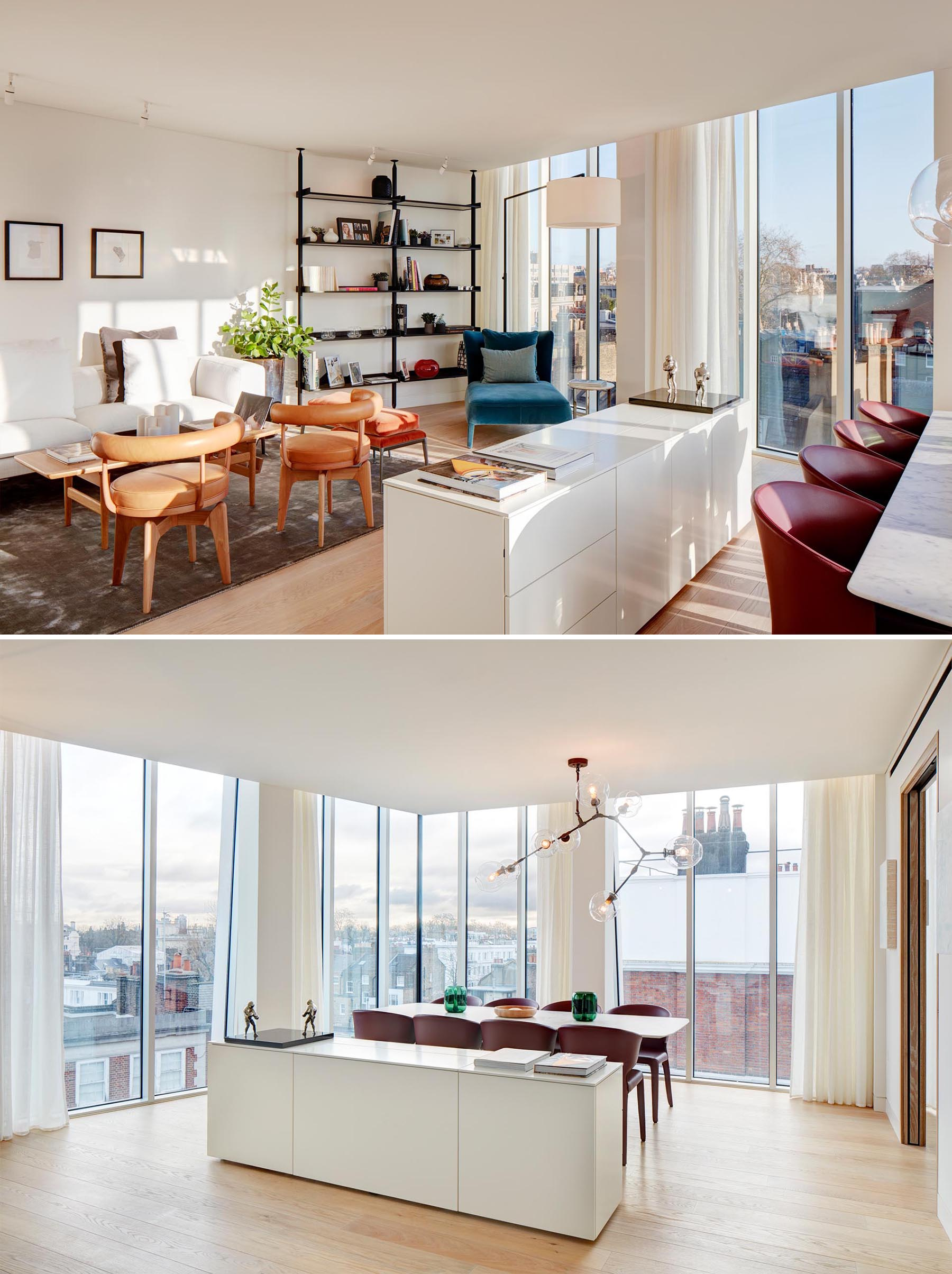 An apartment with the living room and dining room sharing the same open space, while a sideboard separates the two areas. The floor-to-ceiling windows flood the interior with ample natural light.