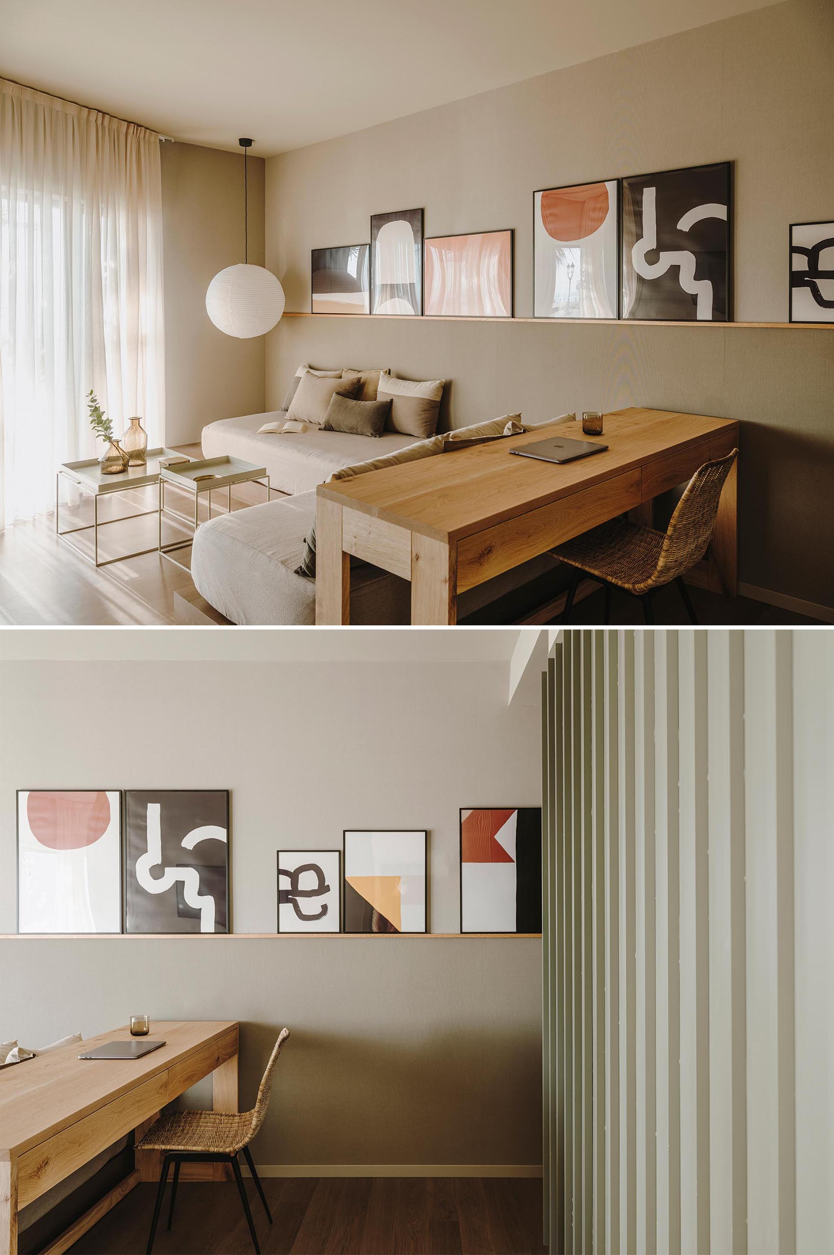 An idea for displaying art in a room is to use a simple picture rail that can hold frames of different sizes.