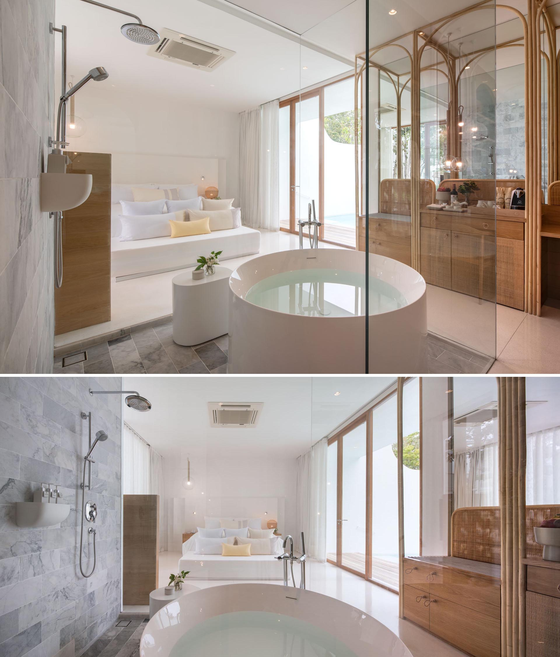 A hotel room with an open bathtub and shower.