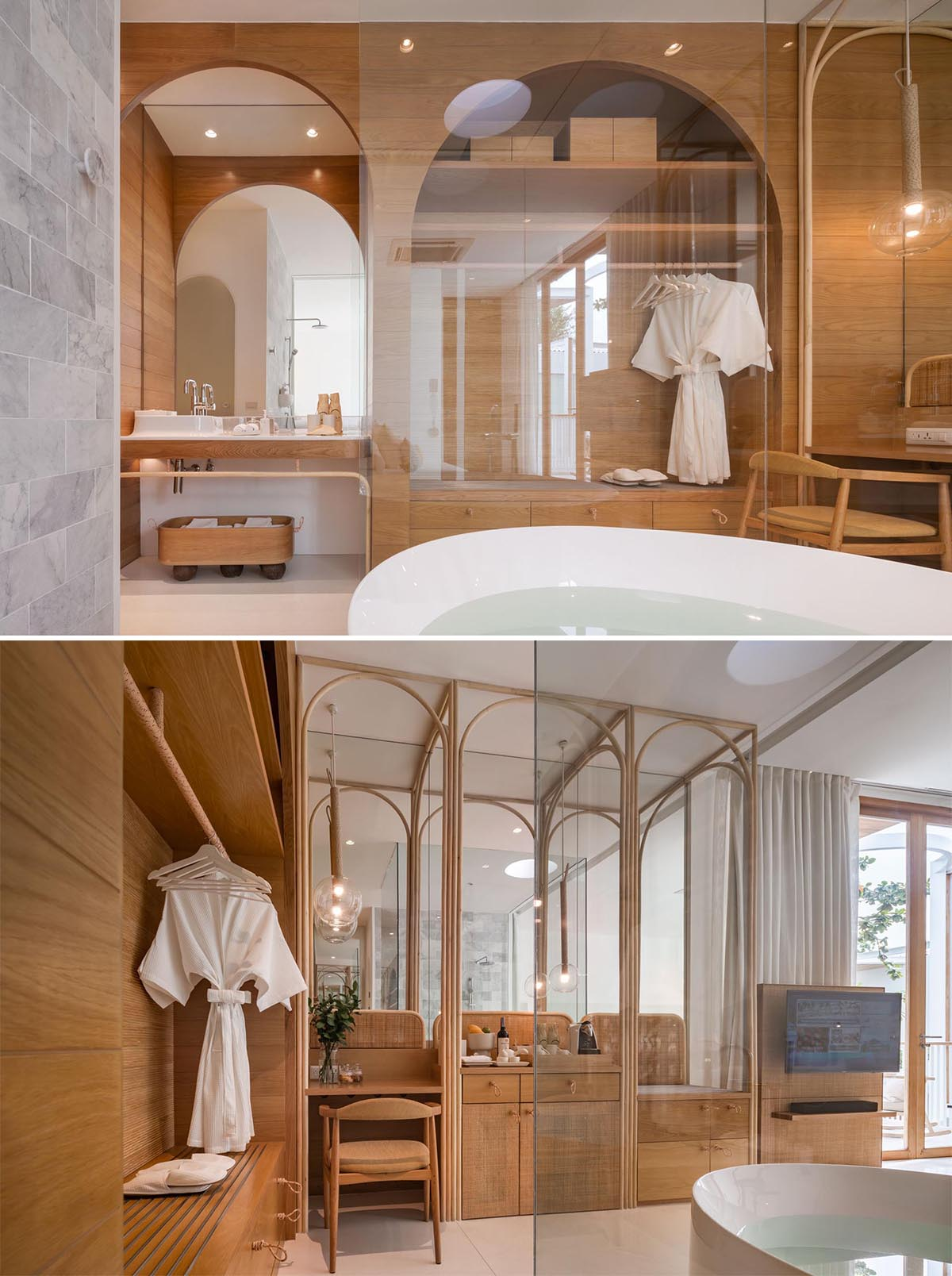 A hotel bathroom with open bathtub and wood cabinetry.