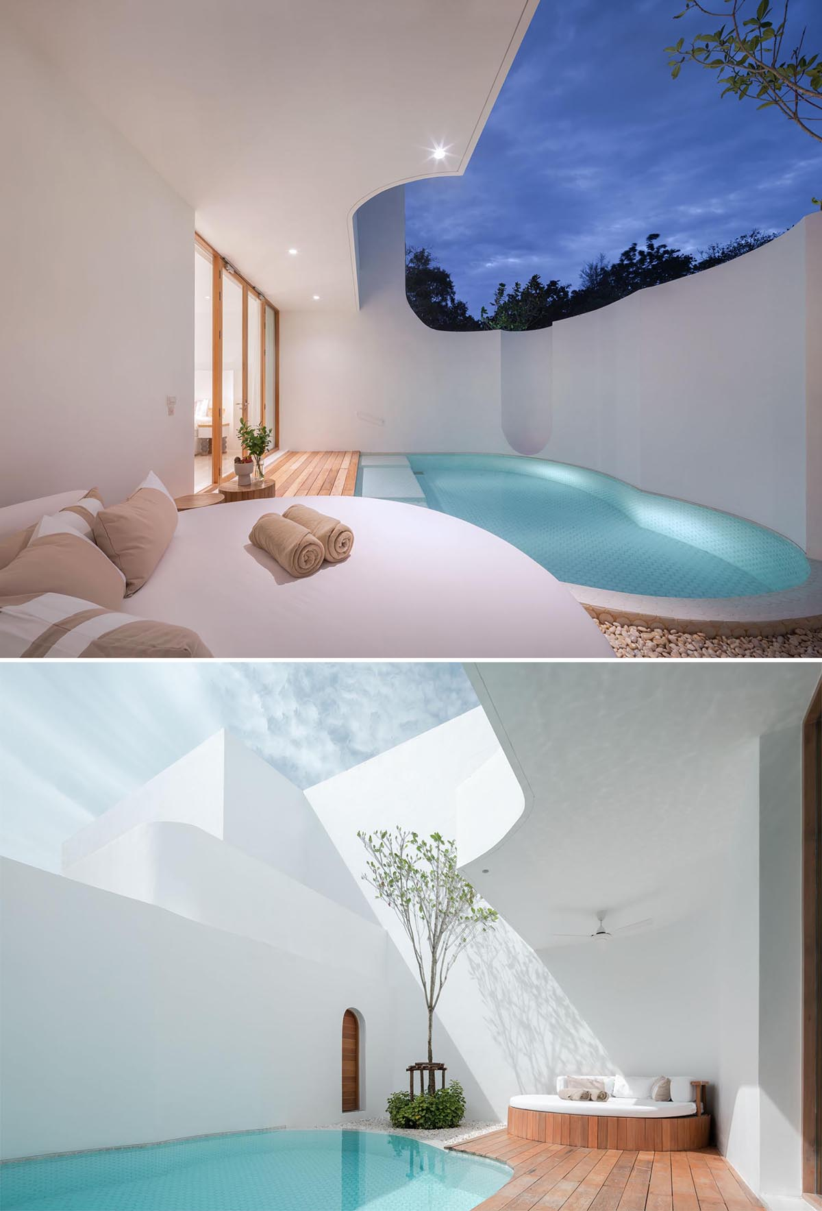 A hotel room with a small swimming pool and covered seating area.
