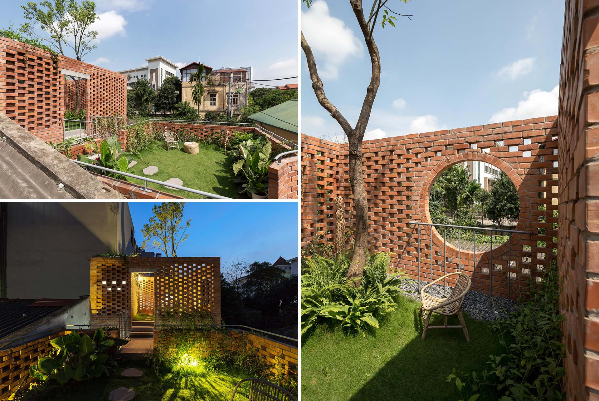 A contemporary home with rooftop courtyards surrounded by brick.
