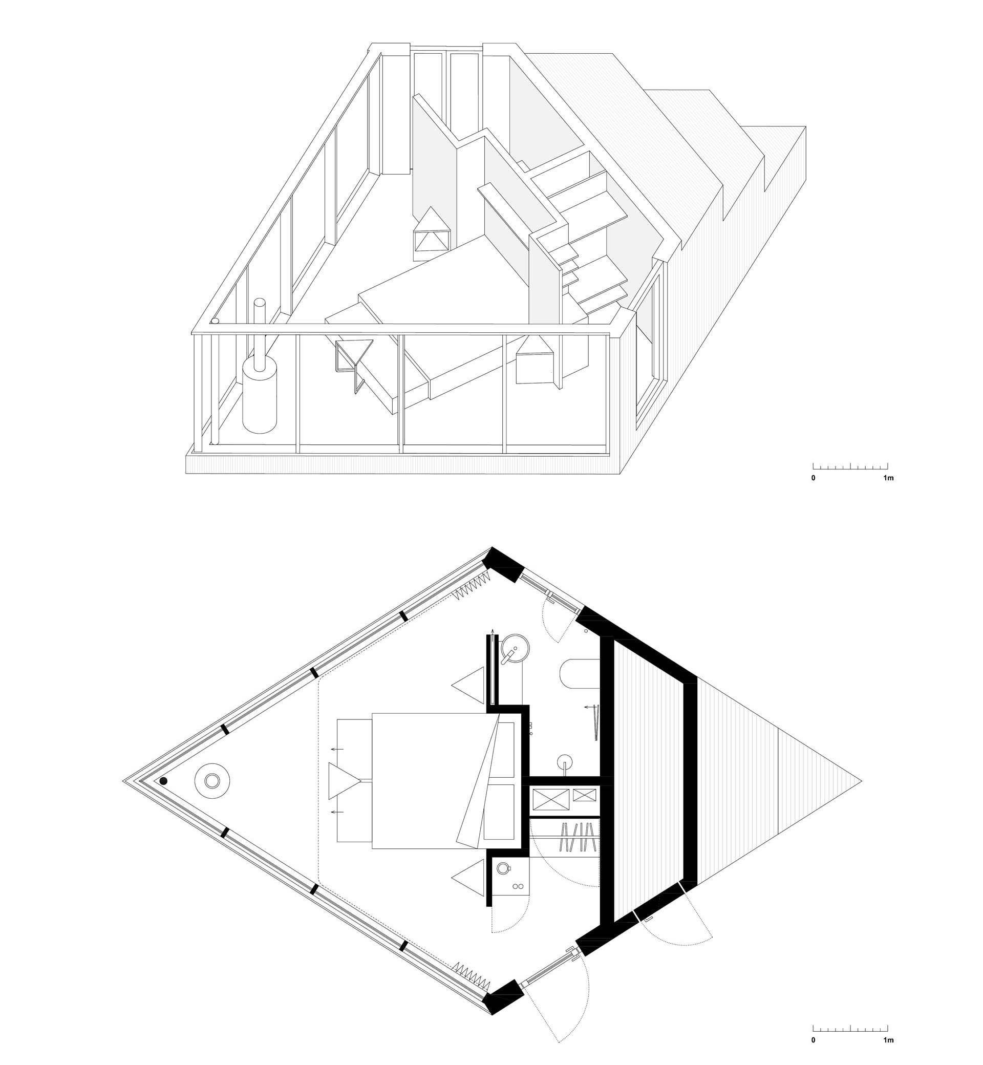 The floor plan of a small diamond shaped cabin.