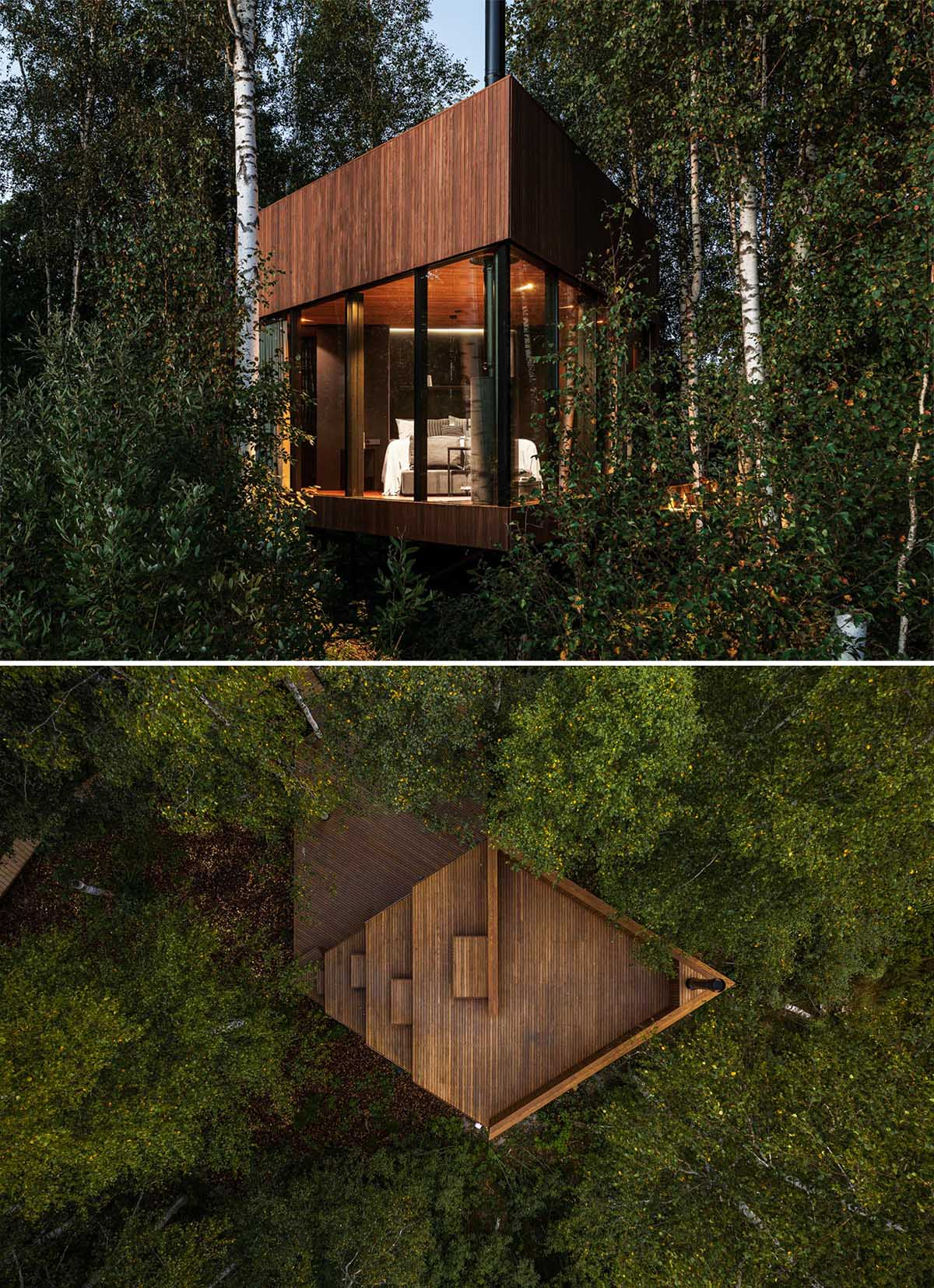 Located on the edge of a bog, this small cabin is designed for 1-2 visitors, and has an angular design with dark brown ash wood walls combined with large windows.