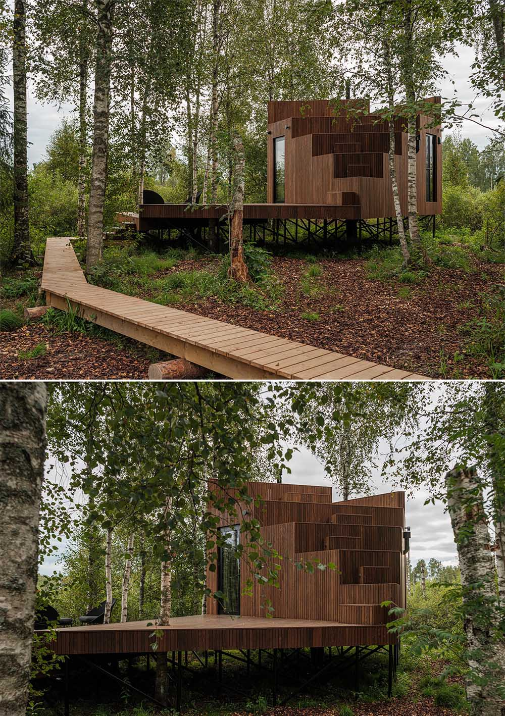 This tiny treehouse-inspired cabin is accessed via a boardwalk that connects to the deck.