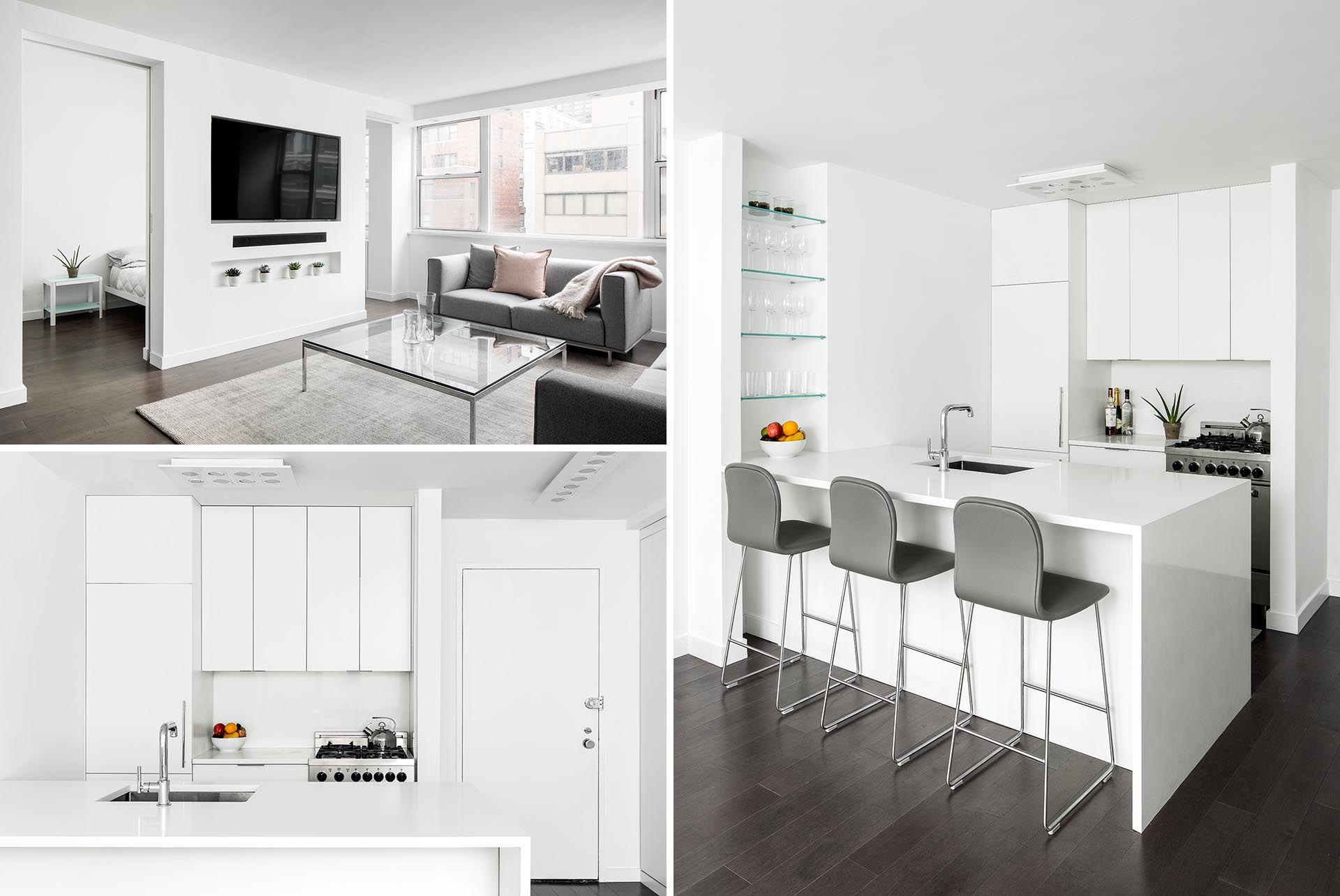 A small and modern apartment in New York with a bright white interior and dark wood floors.