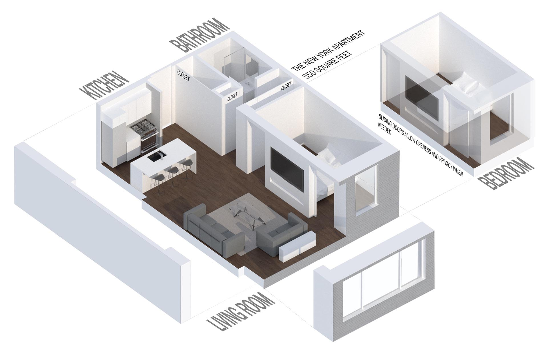 A small apartment with a single bedroom.
