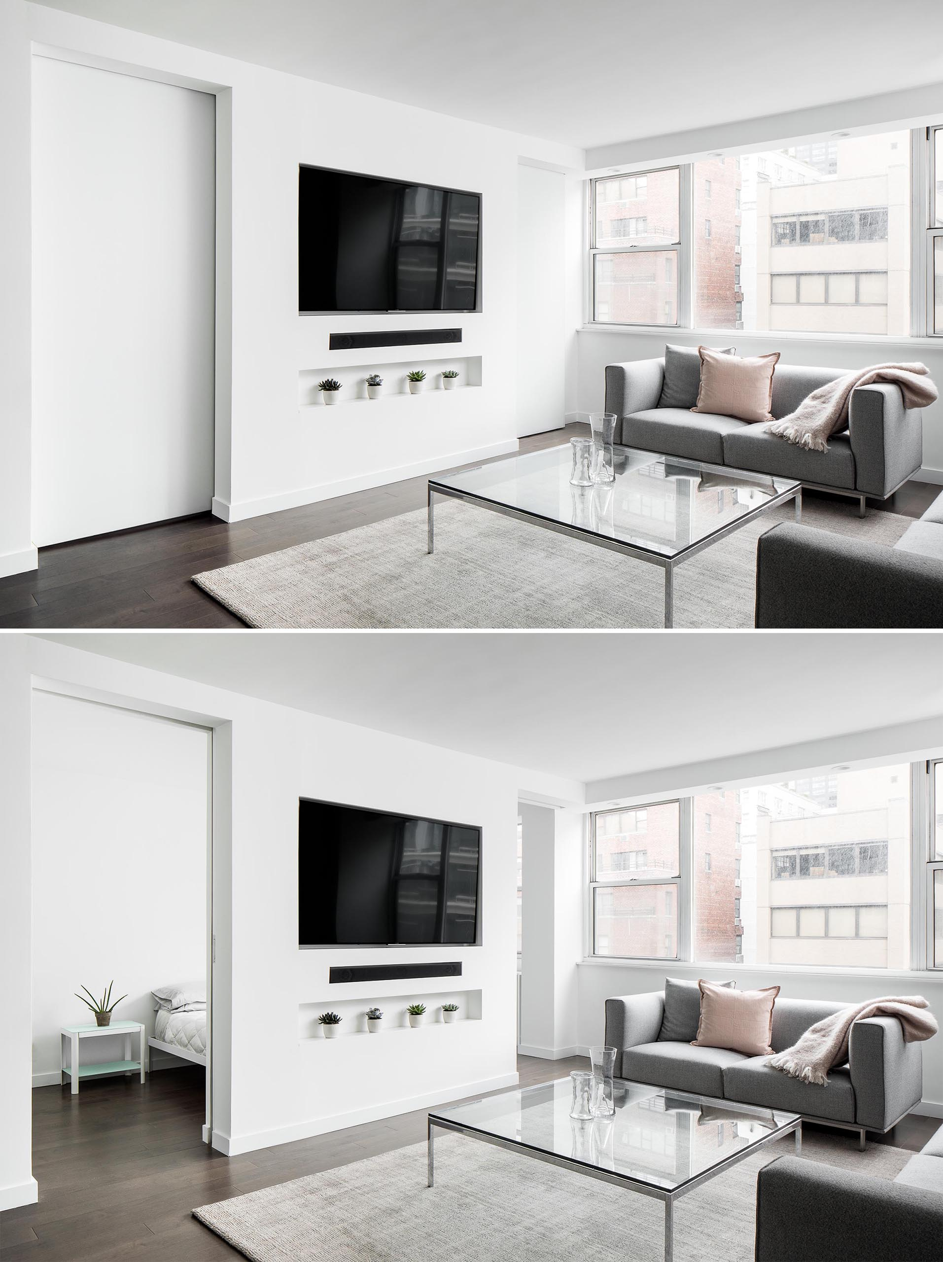 This small and modern living room is flooded with natural light while the recessed television is located above a shelving niche. Sliding doors on either side of the television wall lead to the bedroom.