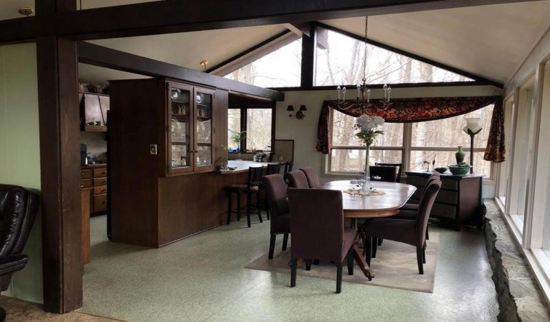 A dining room before a complete renovation.