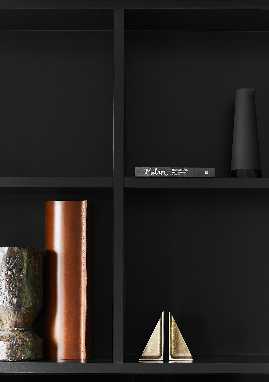 Modern black shelving.