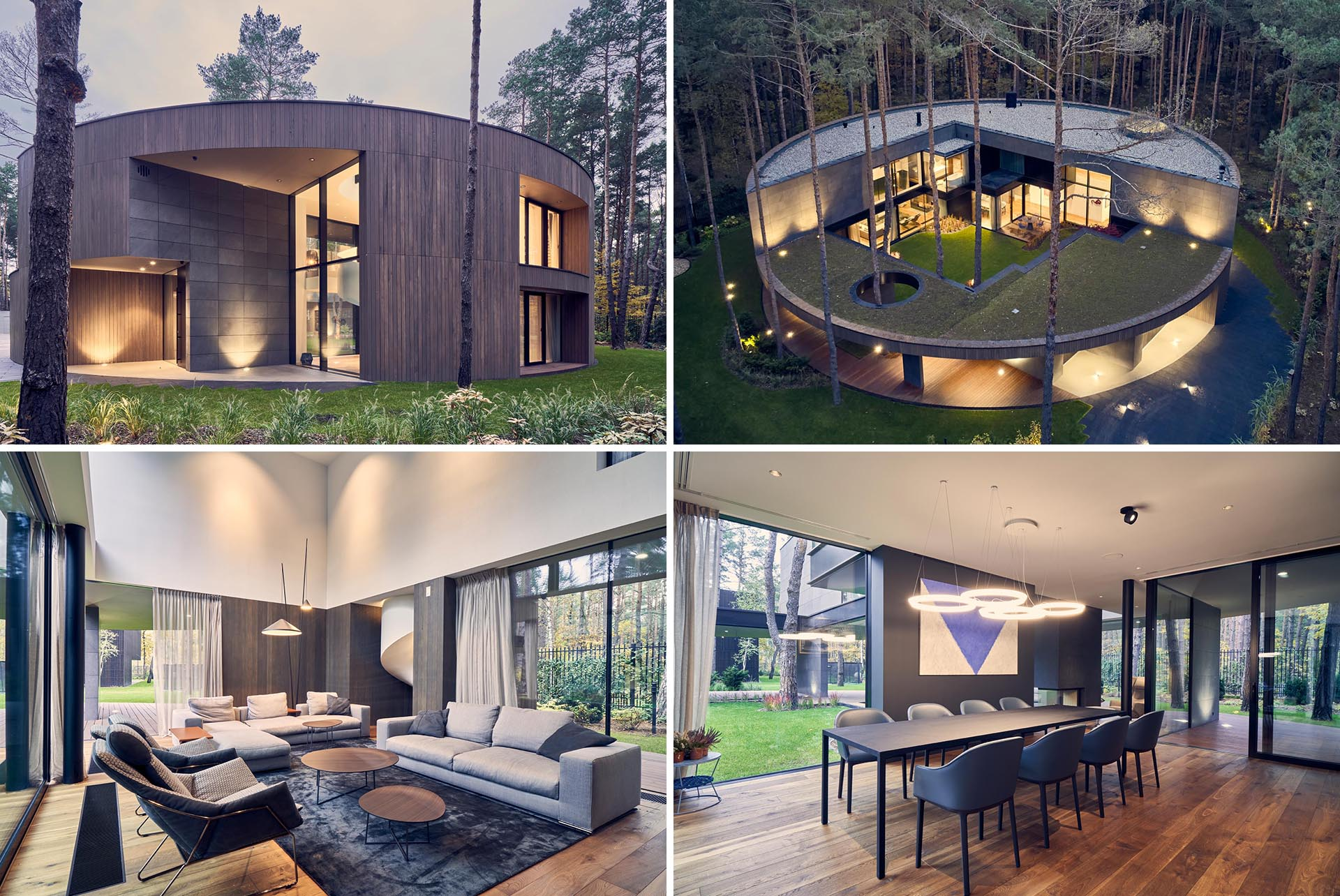 A modern circular home with a warm wood exterior that complements the surrounding forest.
