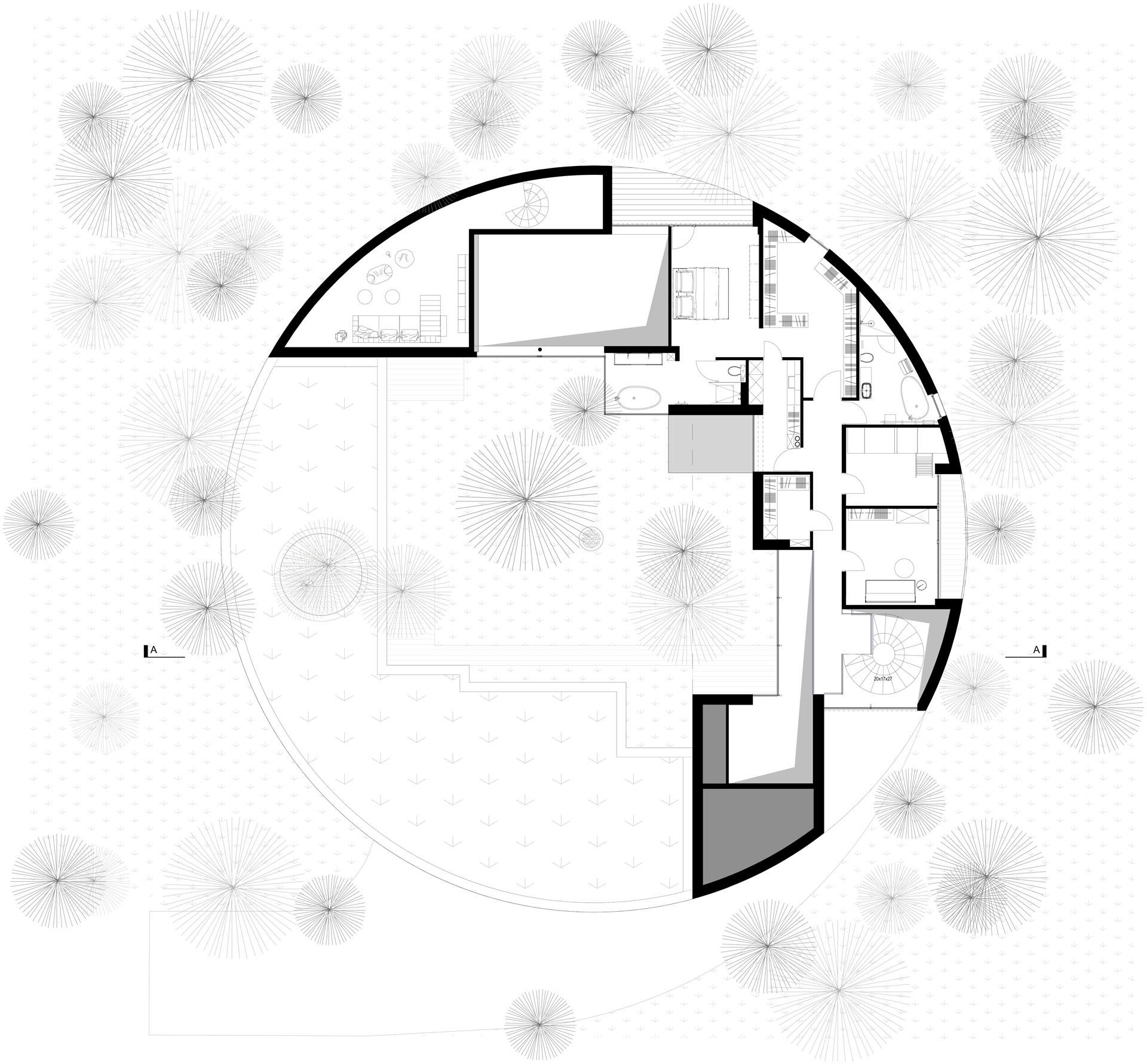 The floor plan of a circular home.