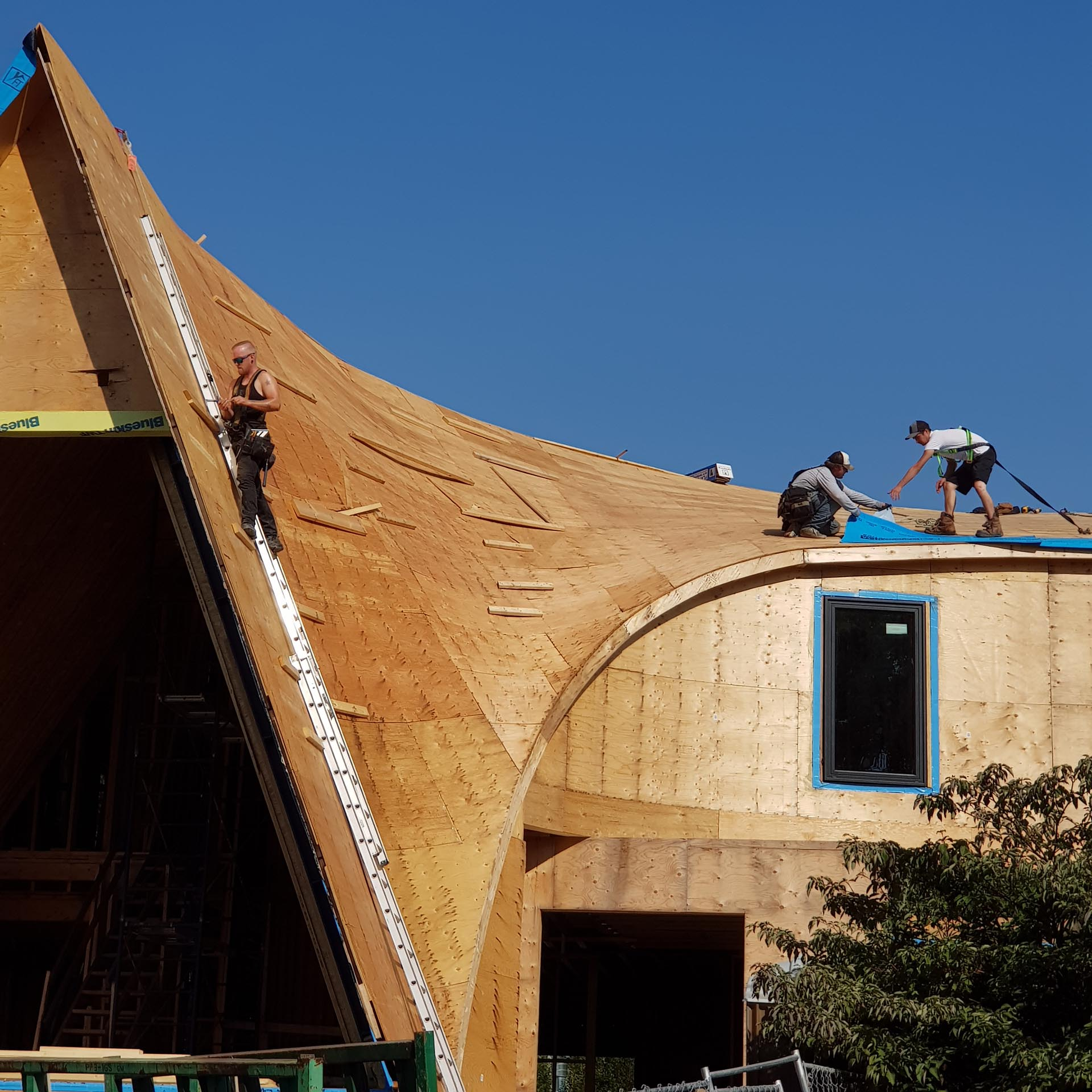 The building of a curved roof.