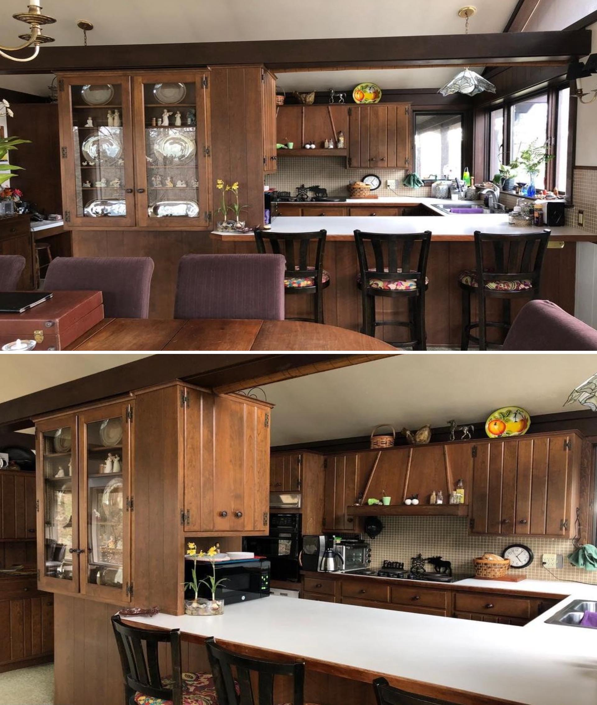 A wood kitchen before a complete renovation.