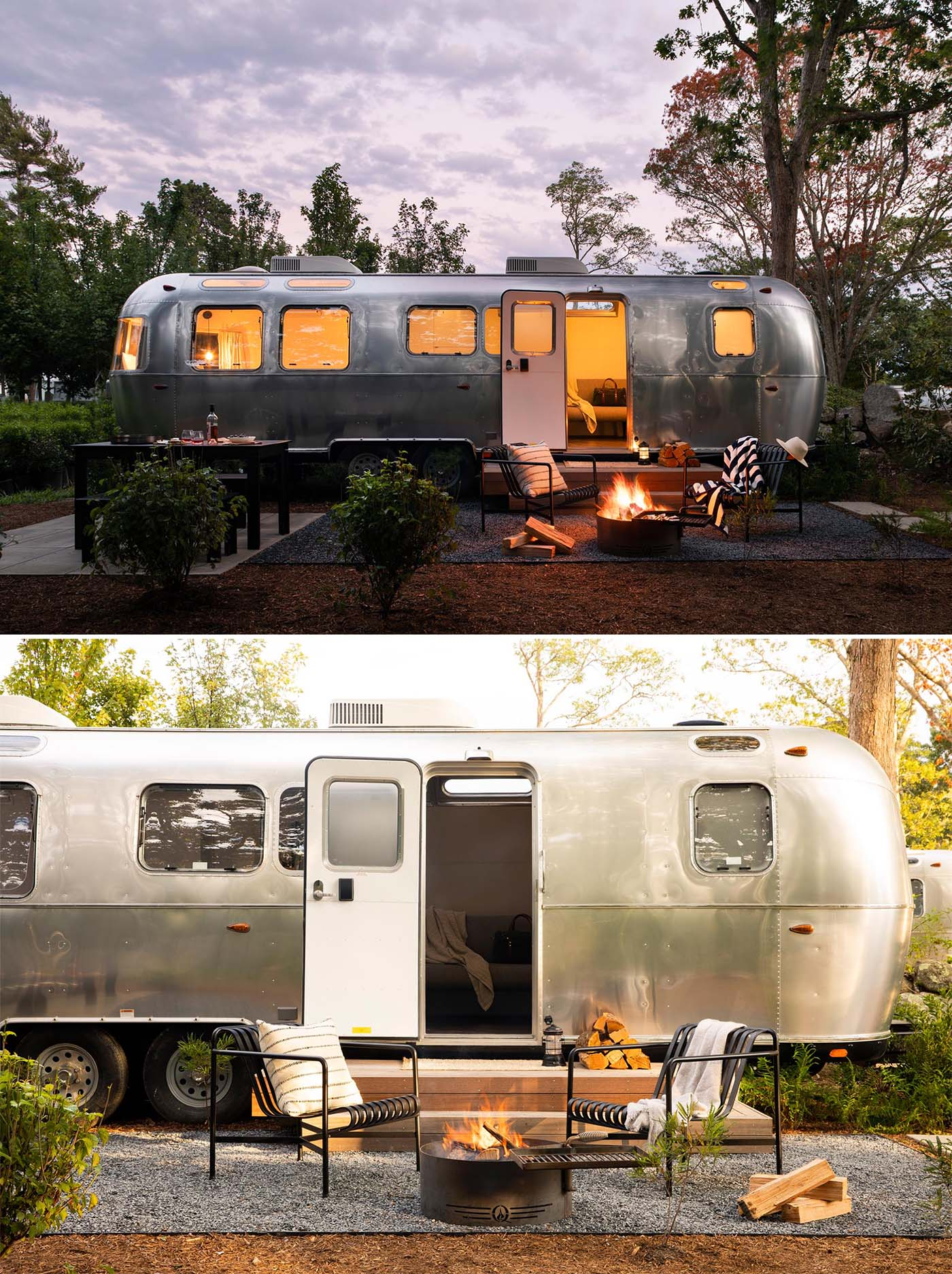 A remodeled Airstream trailer with a dedicated space for outdoor dining, and a small fire pit with a couple of chairs.