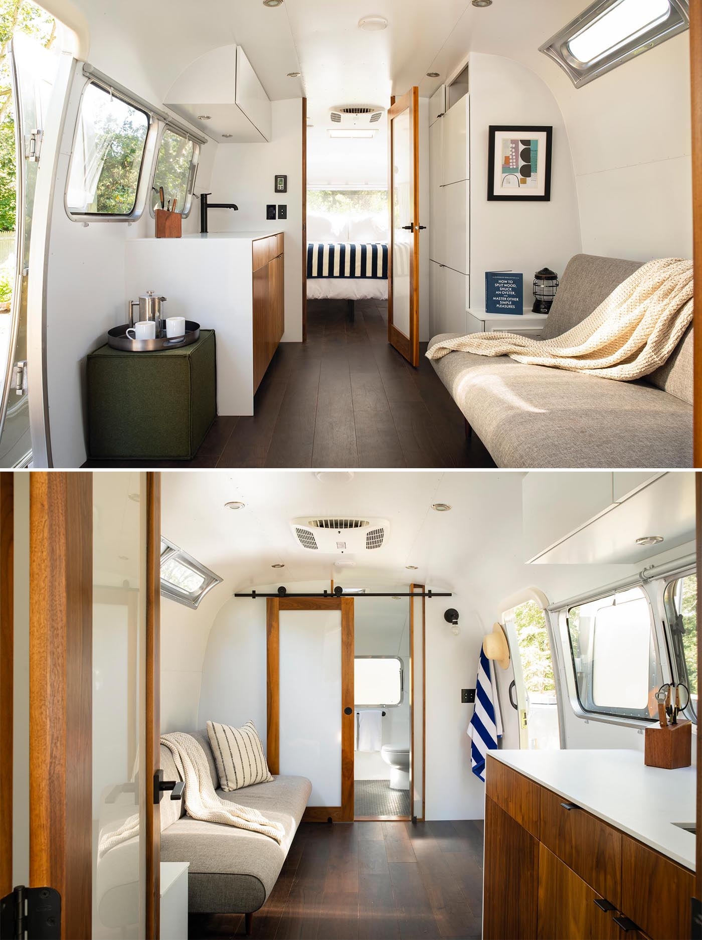 A remodeled Airstream trailer with a modern interior that includes a living room, kitchenette, bathroom, and bedroom.