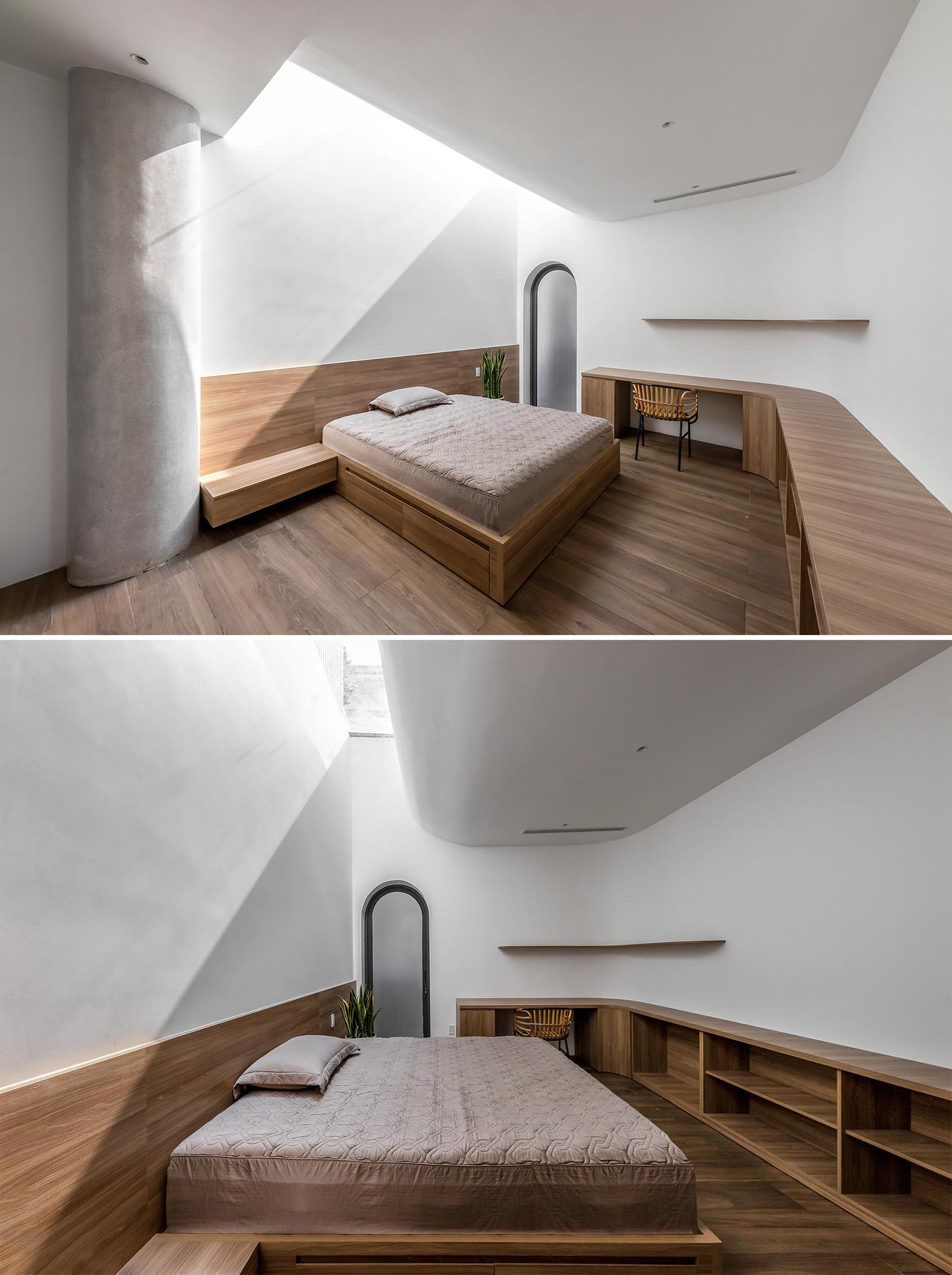 This modern bedroom design includes a custom bed frame with bedside tables, as well as a desk that transitions into open shelving.