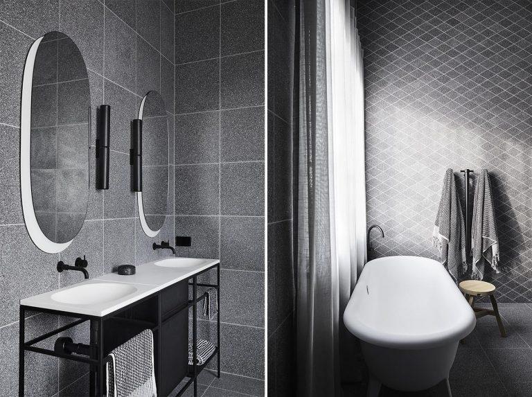 Grey Terrazzo Tiles Help Create A Moody Feeling In These Bathrooms