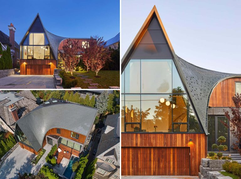 A Curved Roof Covered In Diamond-Shaped Zinc Shingles Adds A Creative Touch To This Home