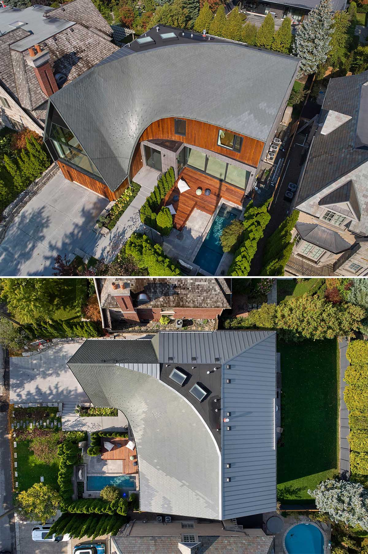 The bird's-eye-view shows the curved roof of this modern home.