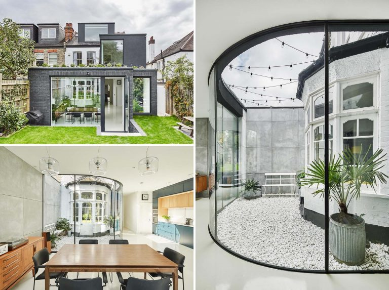 This Home Extension Wraps Around A Bay Window Creating A Small Courtyard