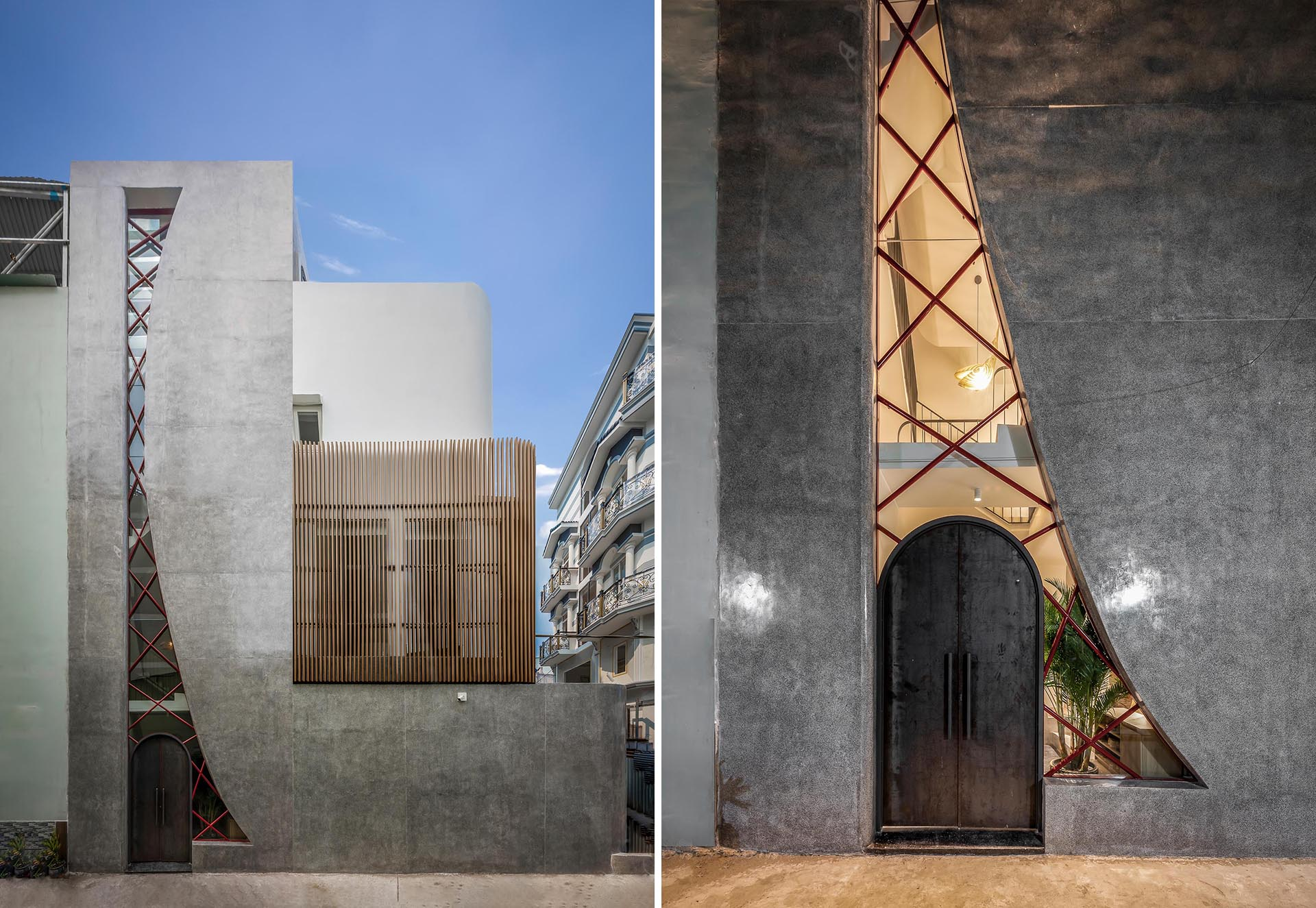 Story Architecture has designed a modern house in Ho Chi Minh City, Vietnam, that includes large window with an irregular shape.