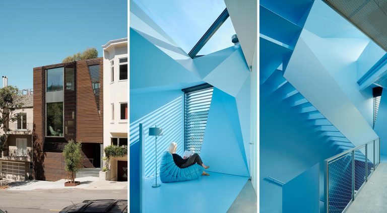 The Wood Exterior Of This Home Hides A Remarkable Blue Staircase Inside