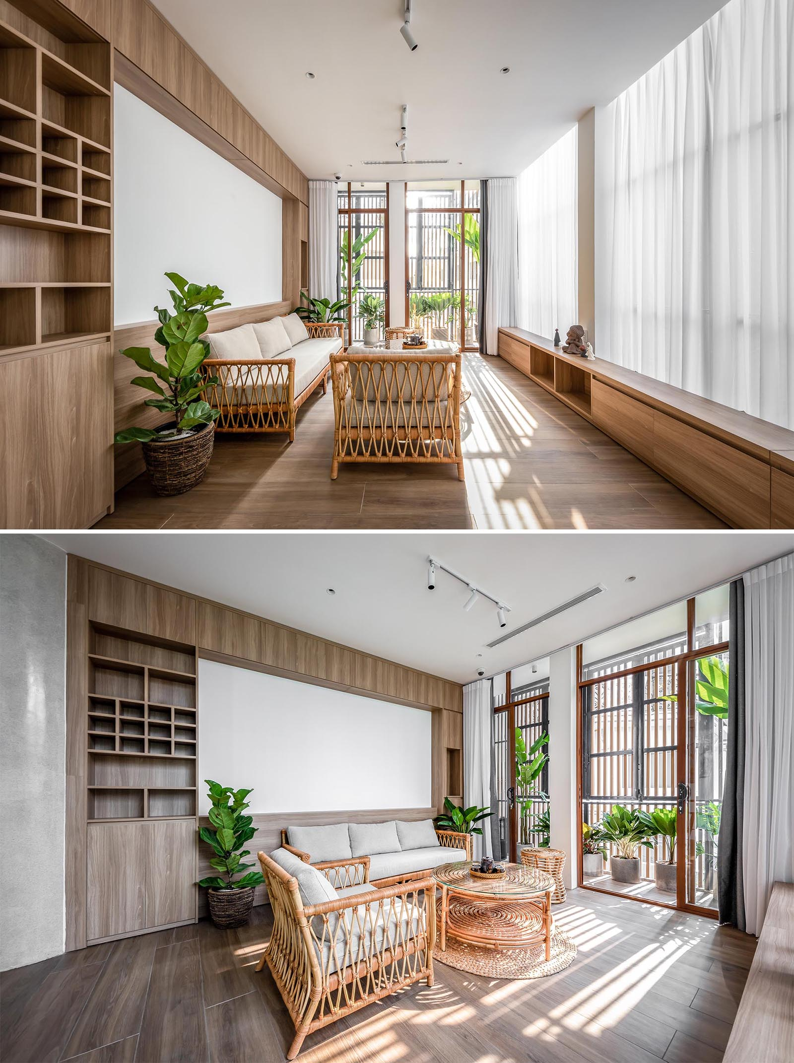 This contemporary living room is casual with wood shelving and furniture, a few plants, and floor-to-ceiling curtains.