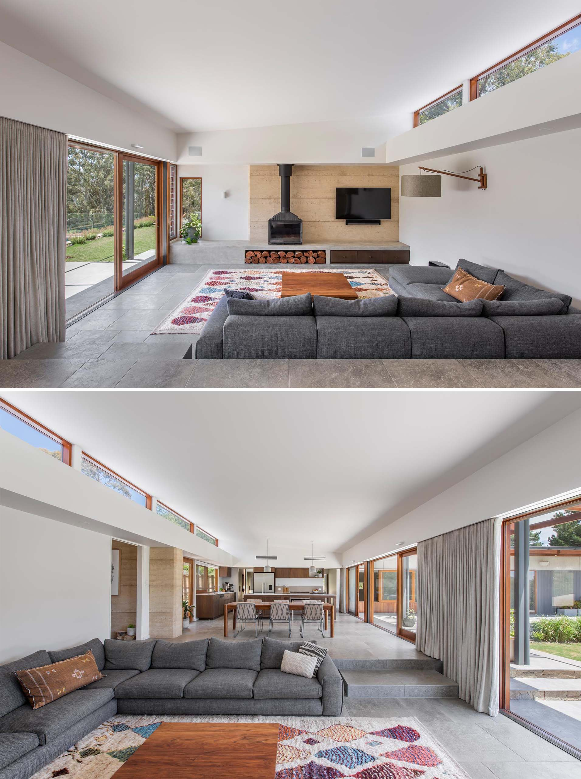 A modern interior with an open plan kitchen, dining and living area, which has an immediate relationship with the outdoor entertaining space, and can be accessed through the wood framed sliding glass doors.